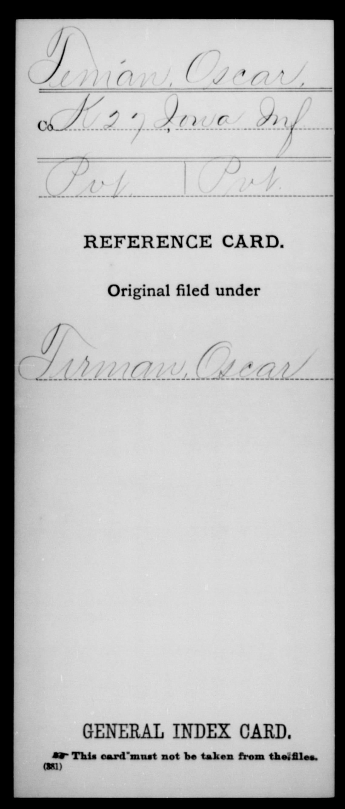 [Iowa] Tenian, Oscar - 27th Infantry, Company K