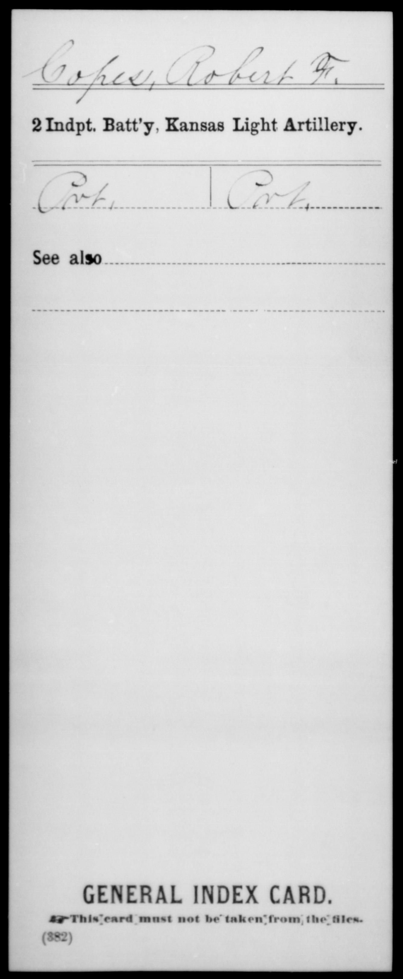 Kansas] Copes, Robert F - 2nd Independent Battery, Light Artillery, Company [Blank