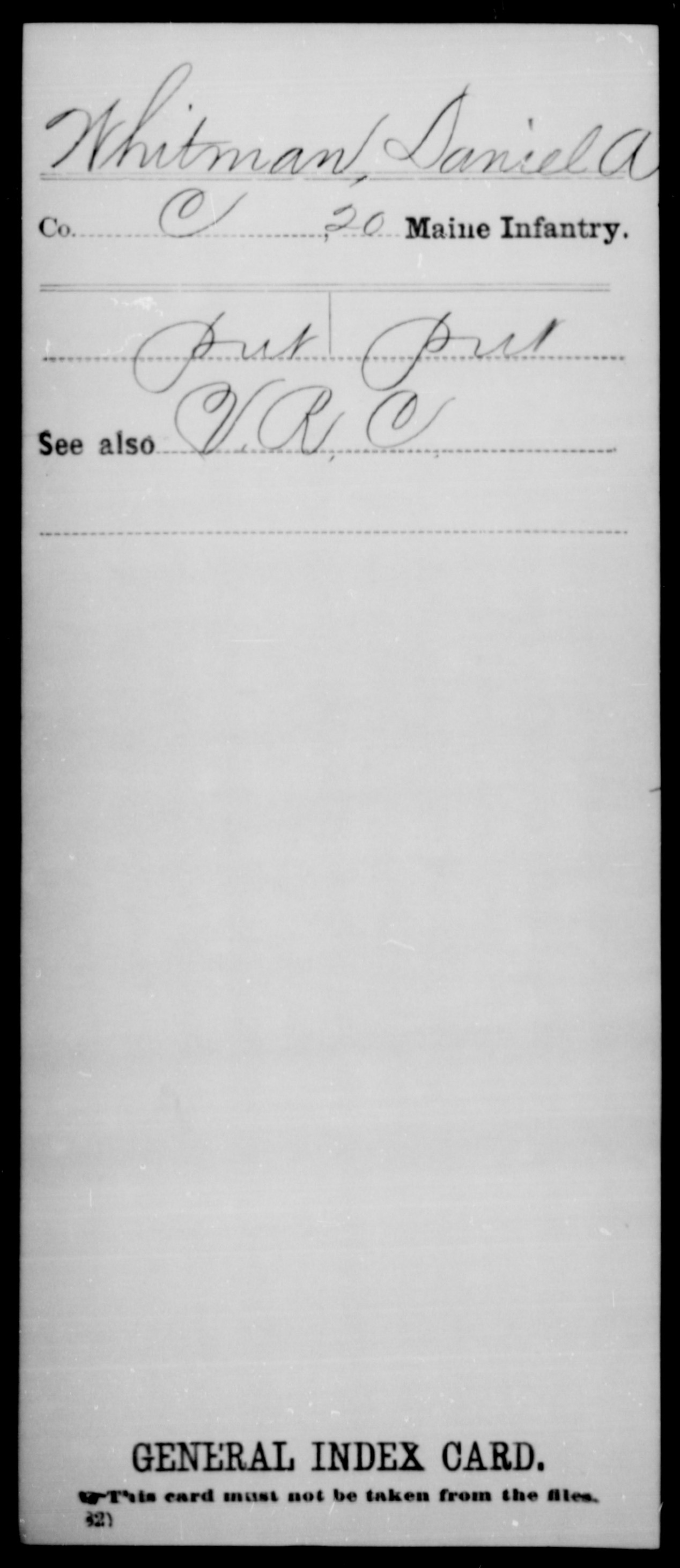 [Maine] Whitman, Danie; A - 20th Infantry, Company C