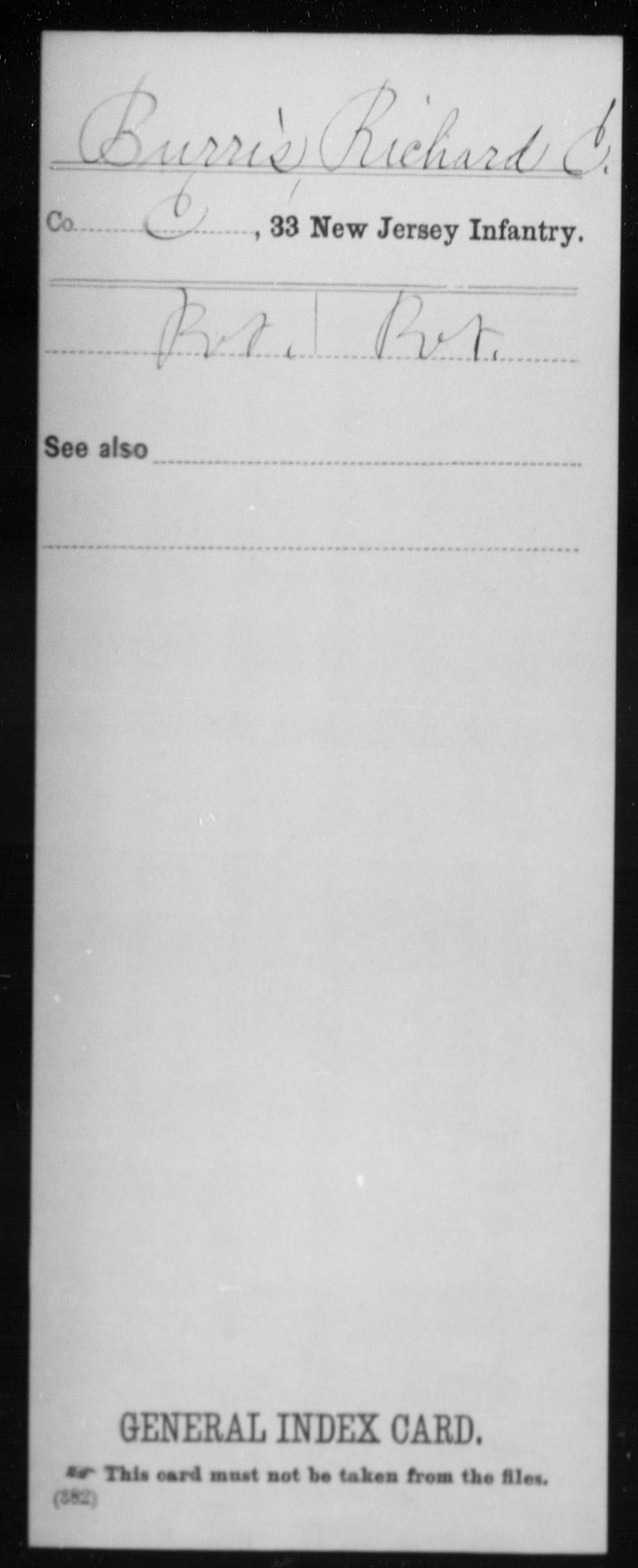 [New Jersey] Burris, Richard C - 33rd Infantry, Company C