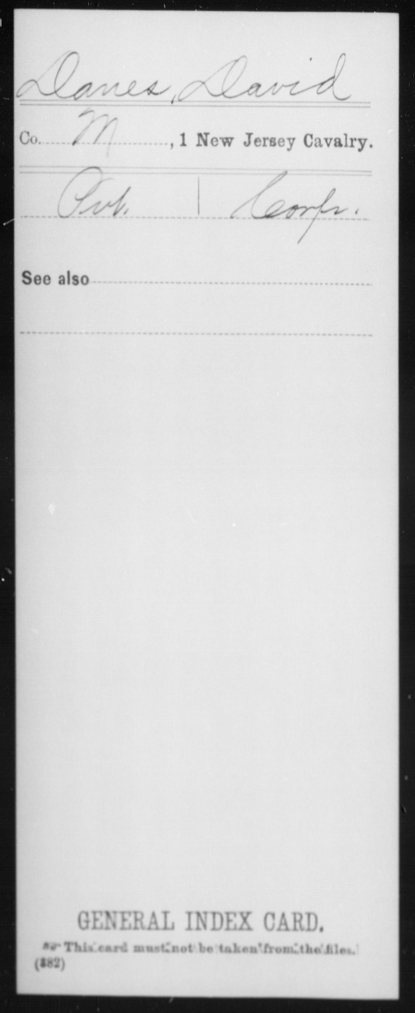 [New Jersey] Danes, David - 1st Cavalry, Company M