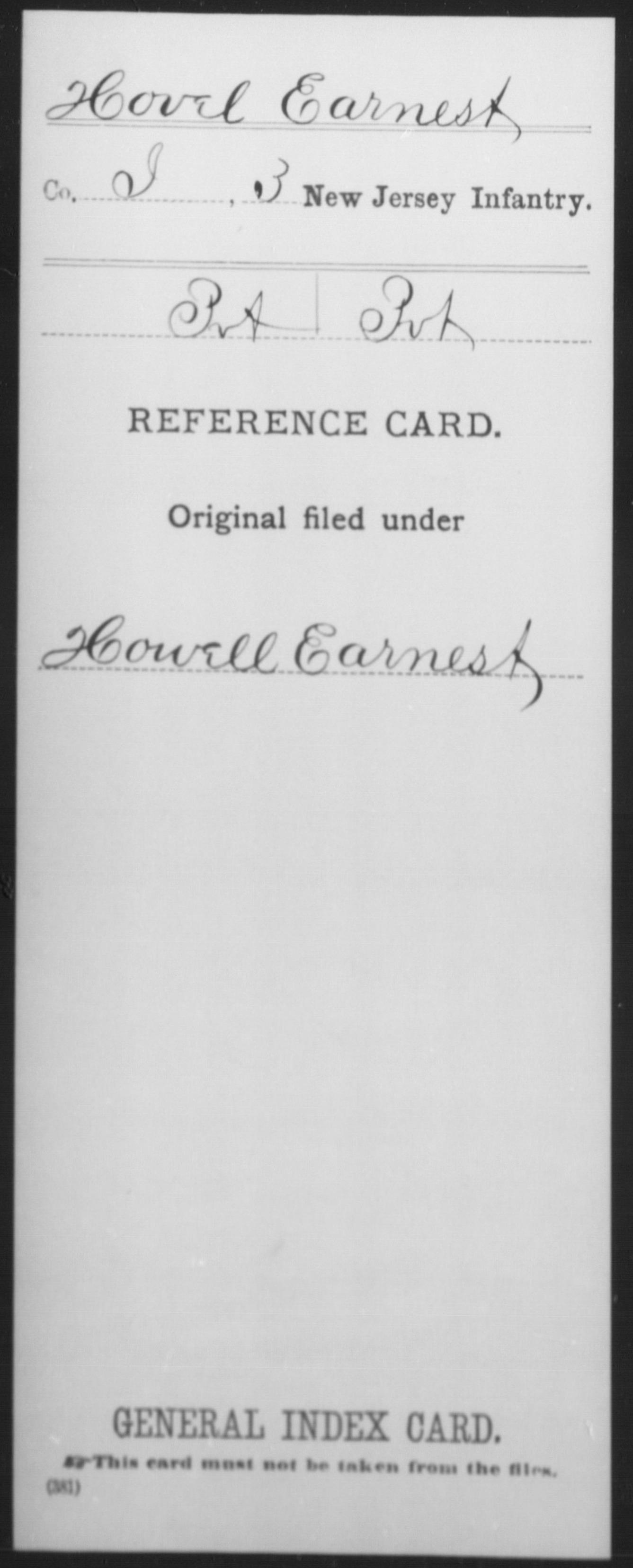 [New Jersey] Hovel, Earnest - 3rd Infantry, Company I
