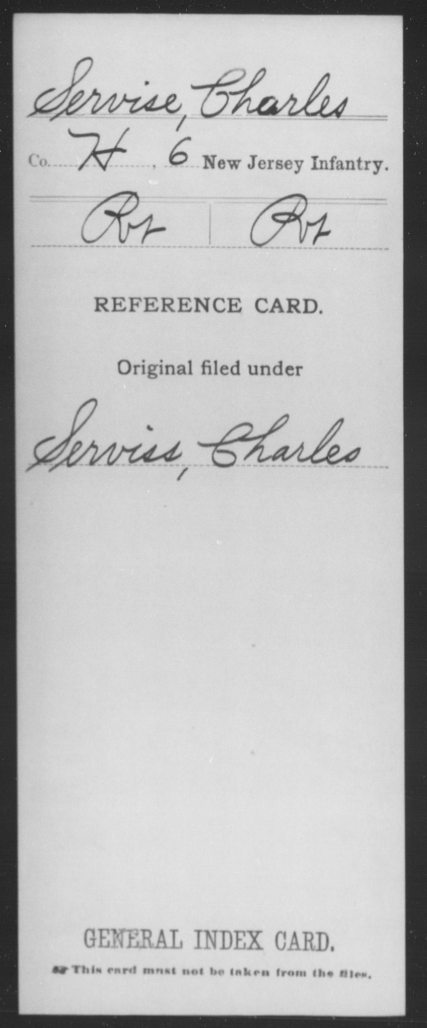 [New Jersey] Servise, Charles - 6th Infantry, Company H