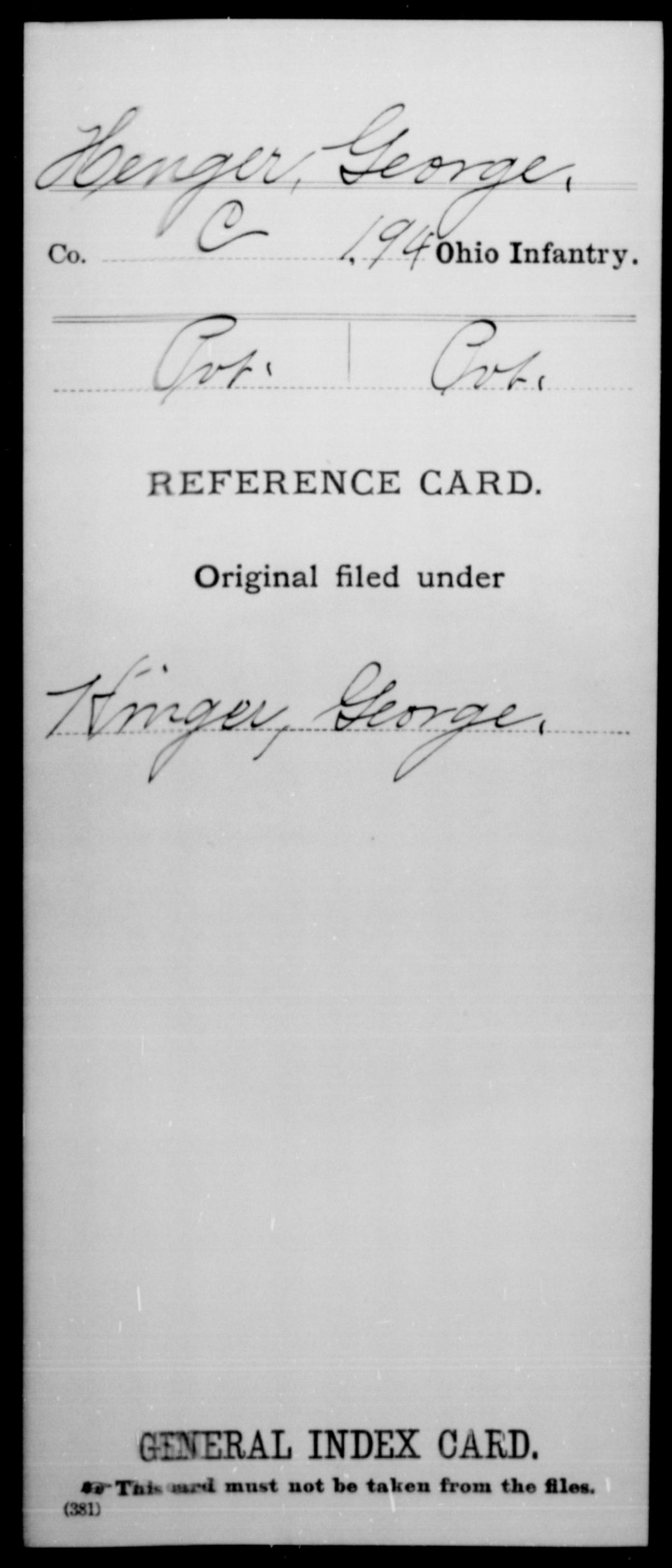 [Ohio] Henger, George - 194th Infantry, Company C