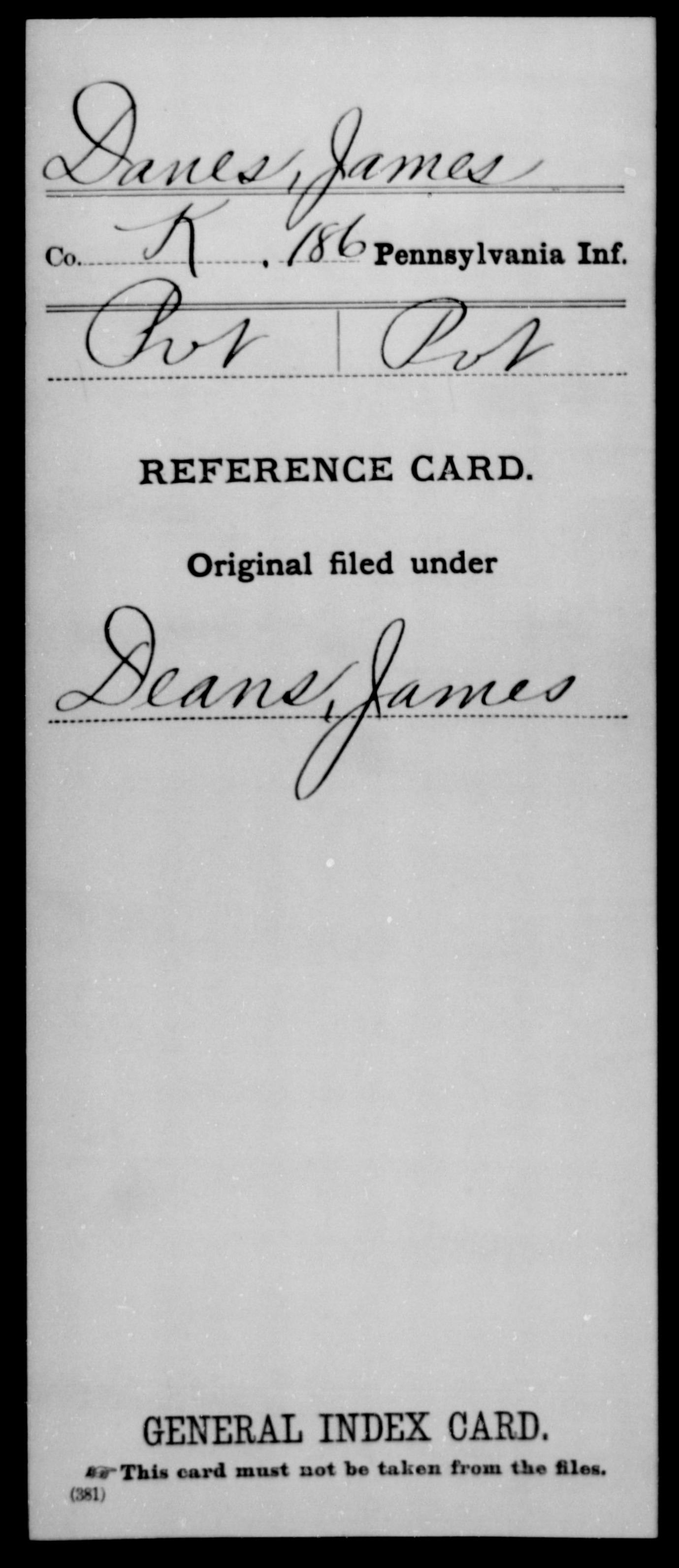[Pennsylvania] Danes, James - 186th Infantry, Company K
