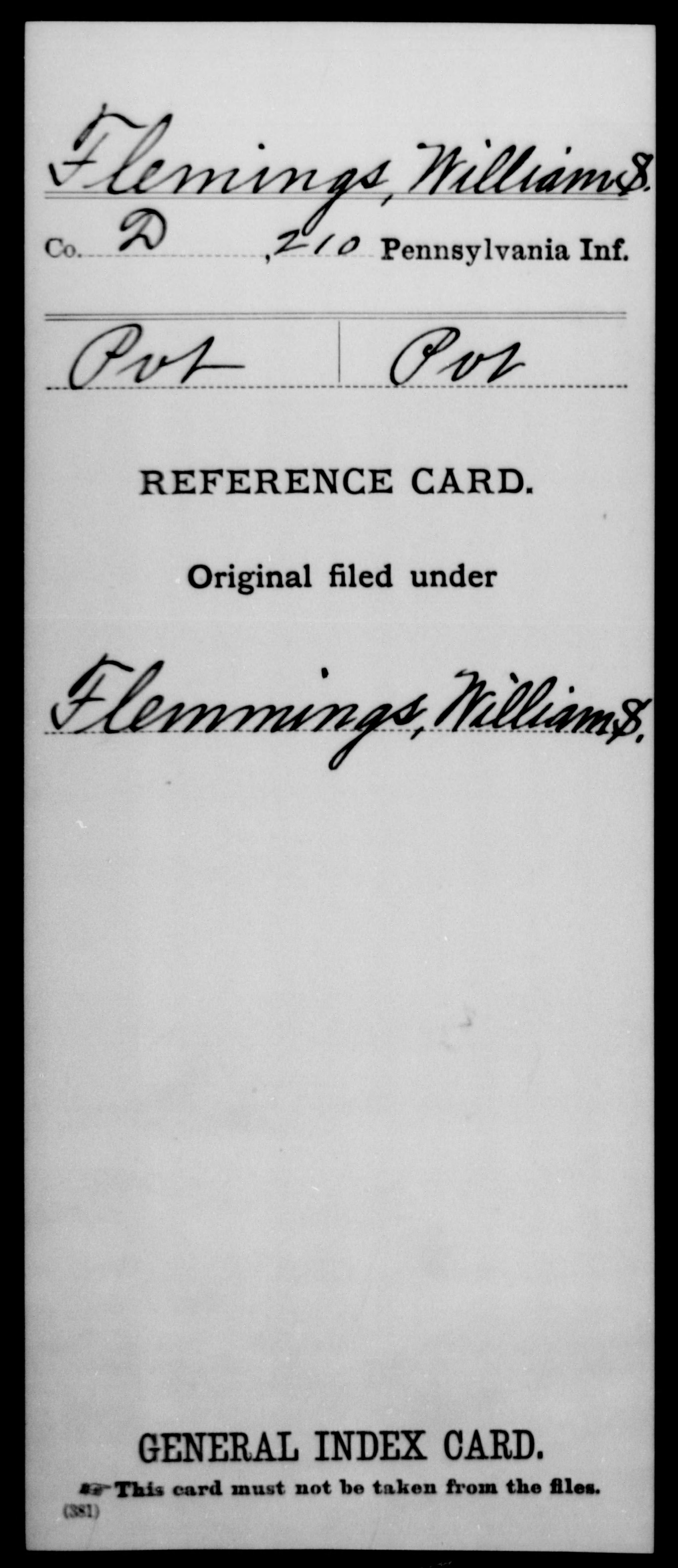 [Pennsylvania] Flemings, William S - 210th Infantry, Company D