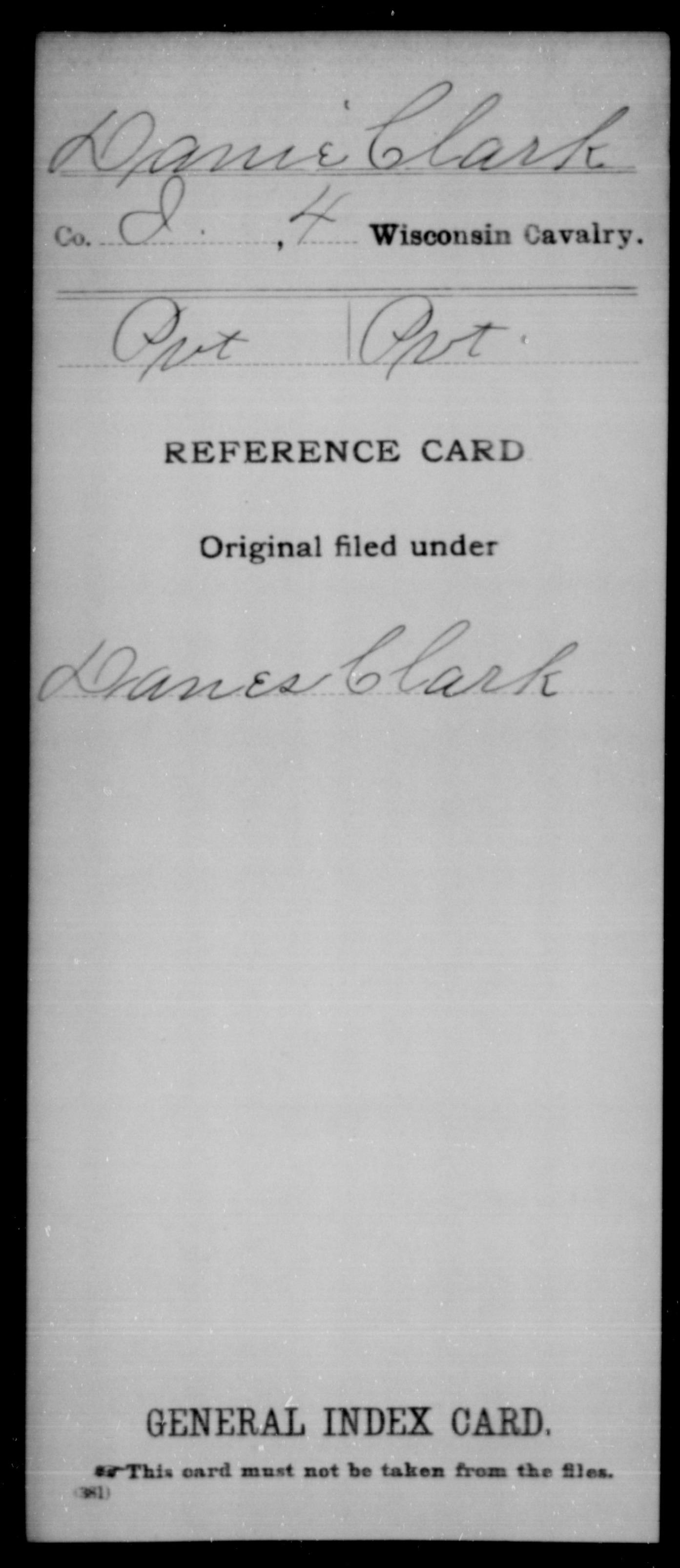 [Wisconsin] Danie, Clark - 4th Cavalry, Company I