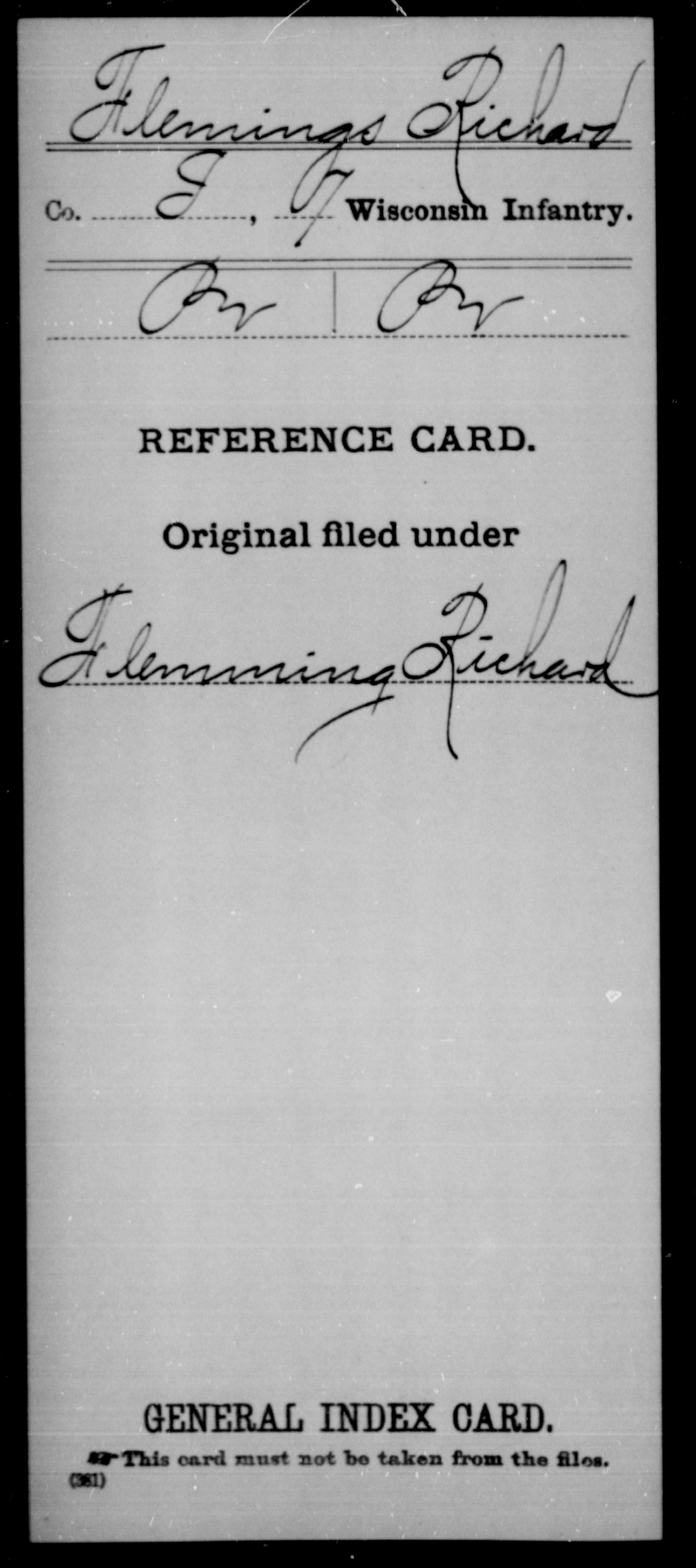 [Wisconsin] Flemings, Richard - 7th Infantry, Company I