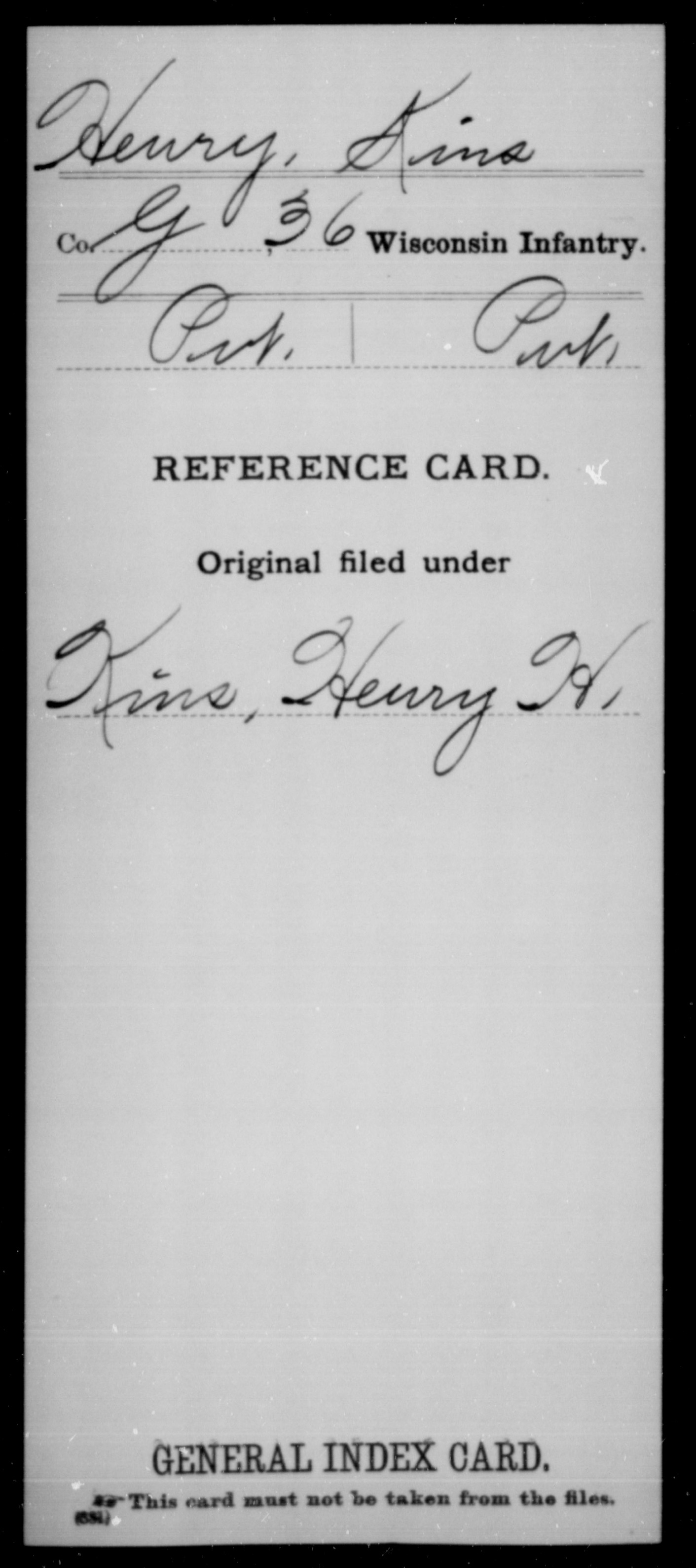 [Wisconsin] Henry, Kins - 36th Infantry, Company G