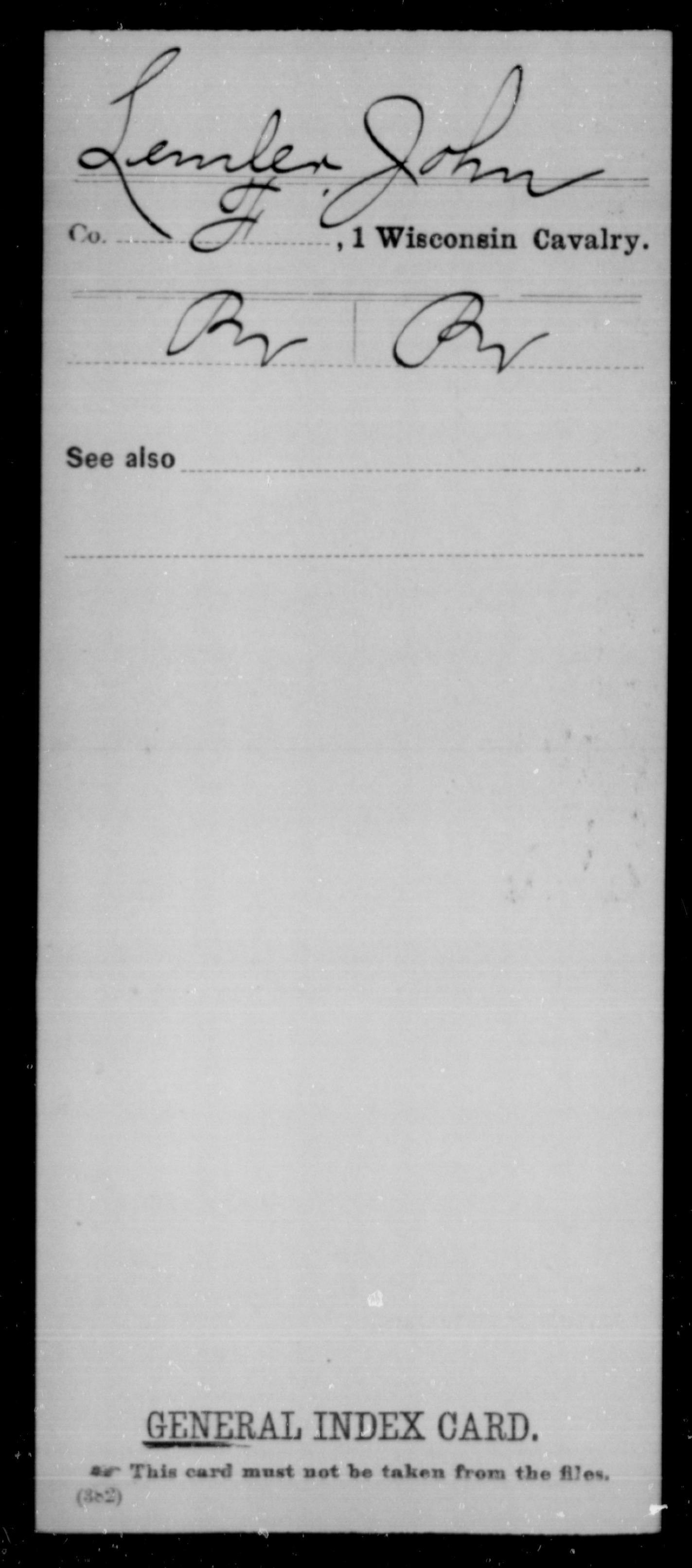 [Wisconsin] Lemler, John - 1st Cavalry, Company F