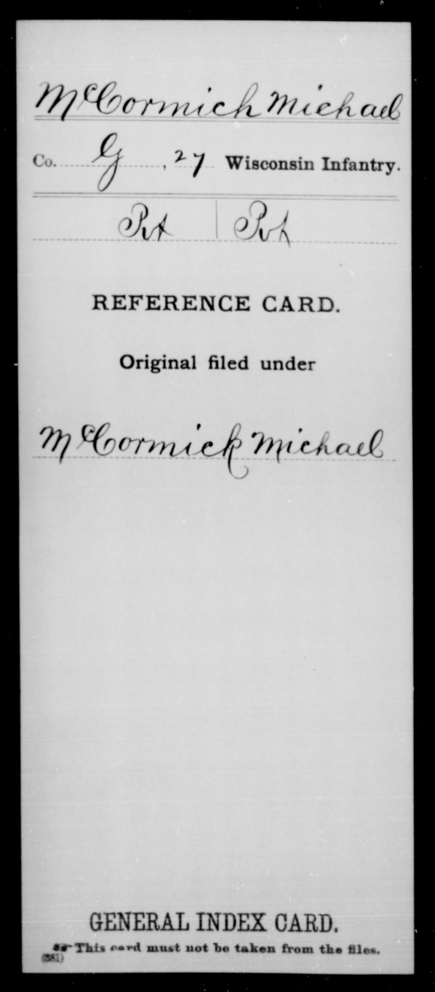[Wisconsin] McCormich, Michael - 27th Infantry, Company G