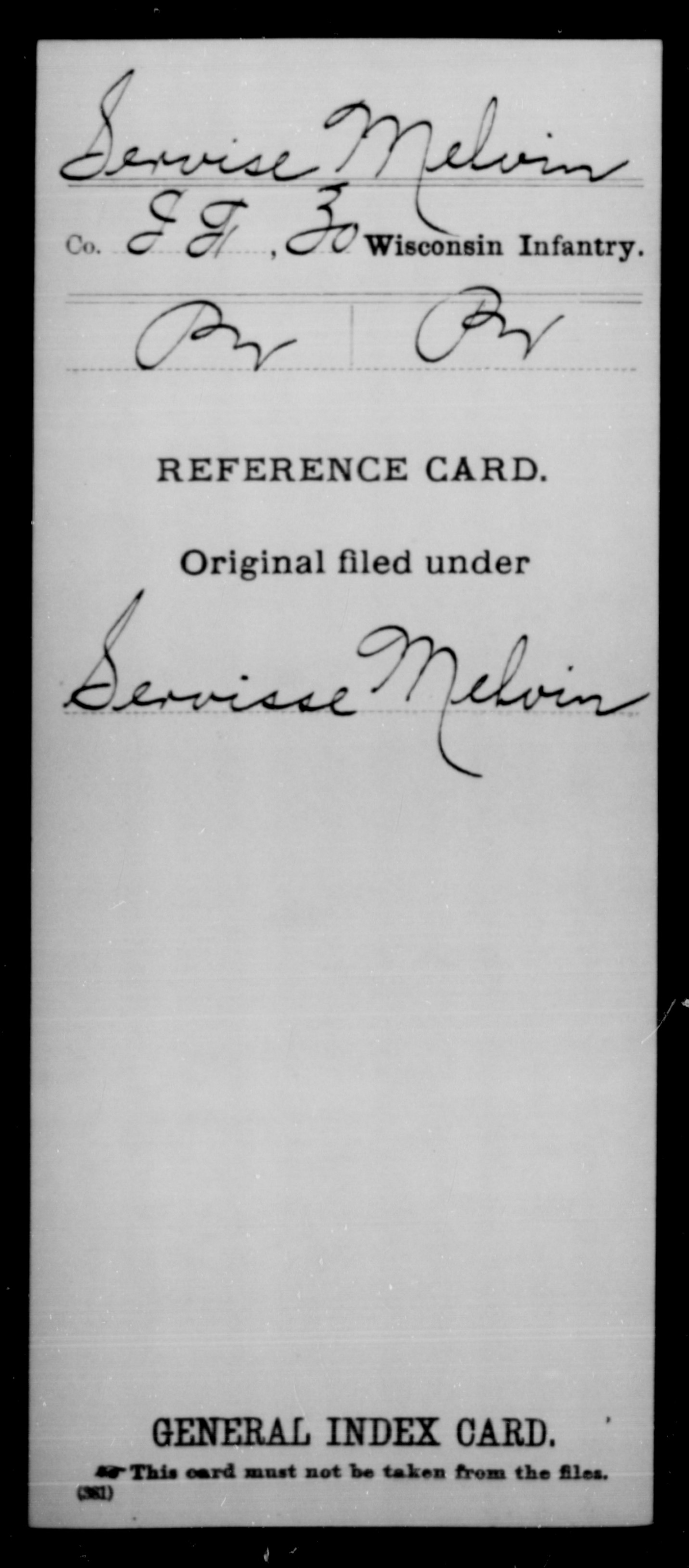 [Wisconsin] Servise, Melvin - 30th Infantry, Company I,F