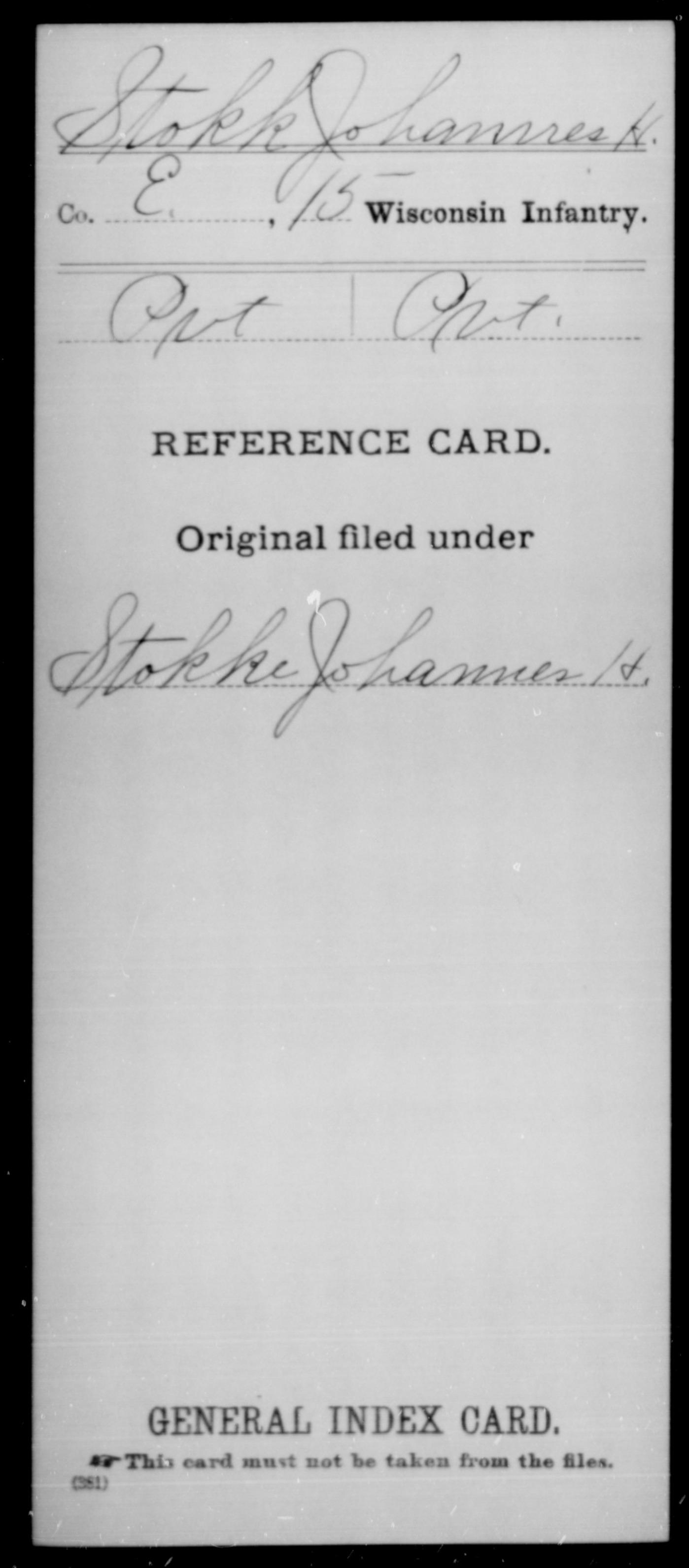 [Wisconsin] Stokk, Johannes H - 15th Infantry, Company E