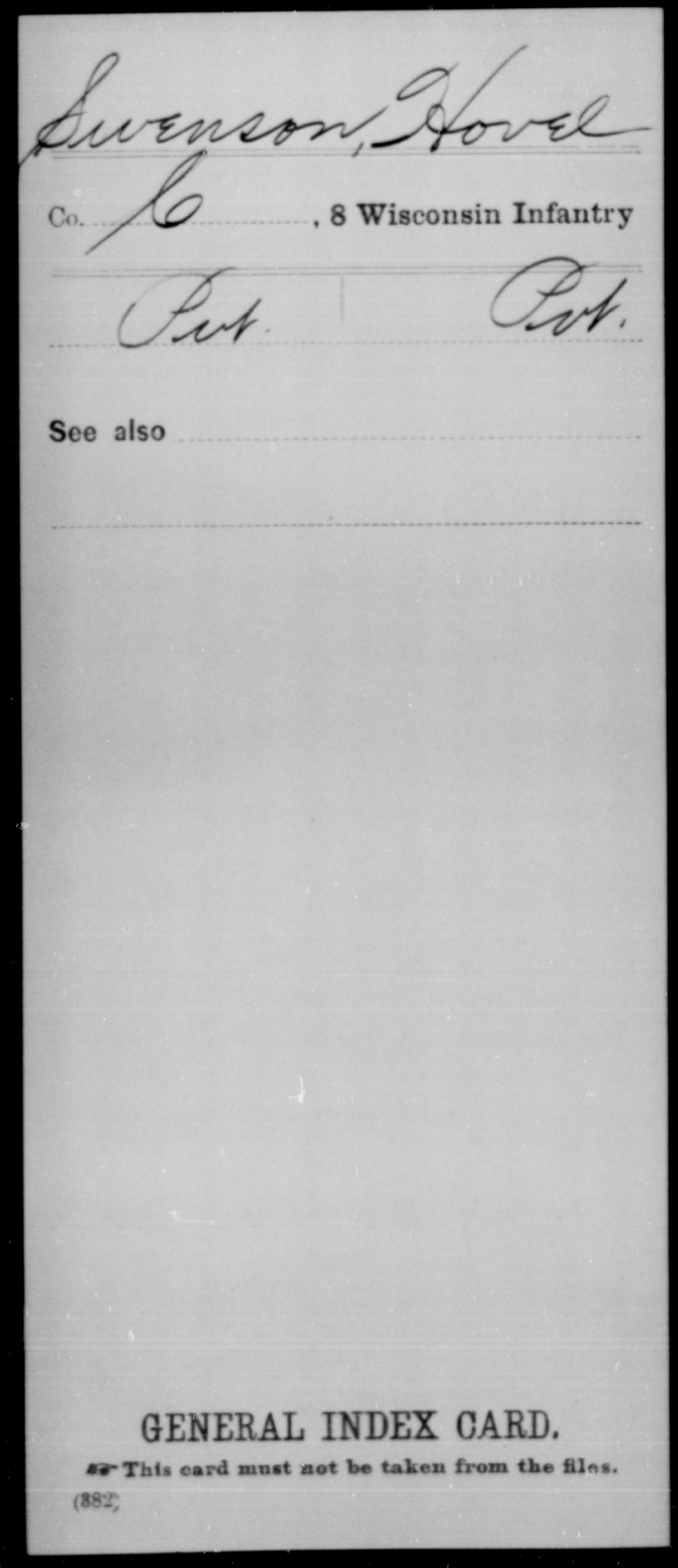 [Wisconsin] Swenson, Hovel - 8th Infantry, Company C