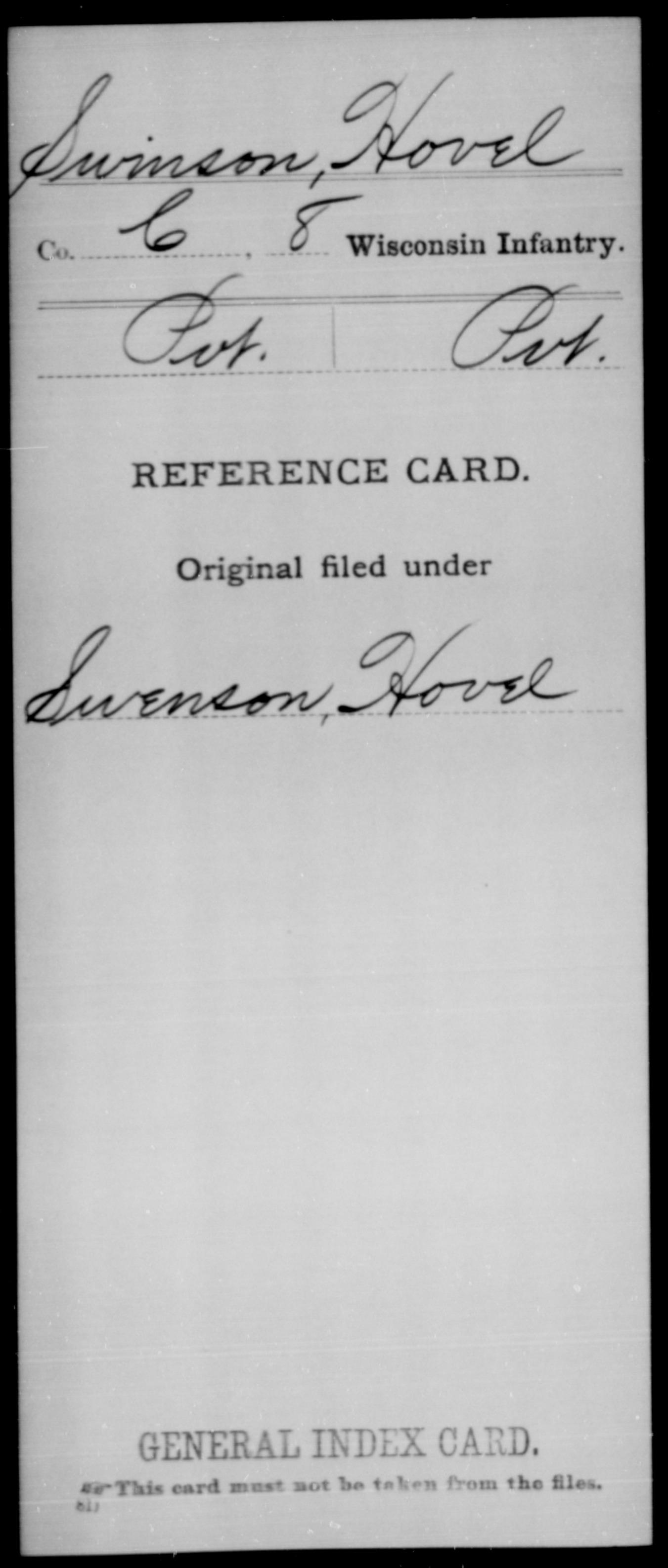 [Wisconsin] Swinson, Hovel - 8th Infantry, Company C