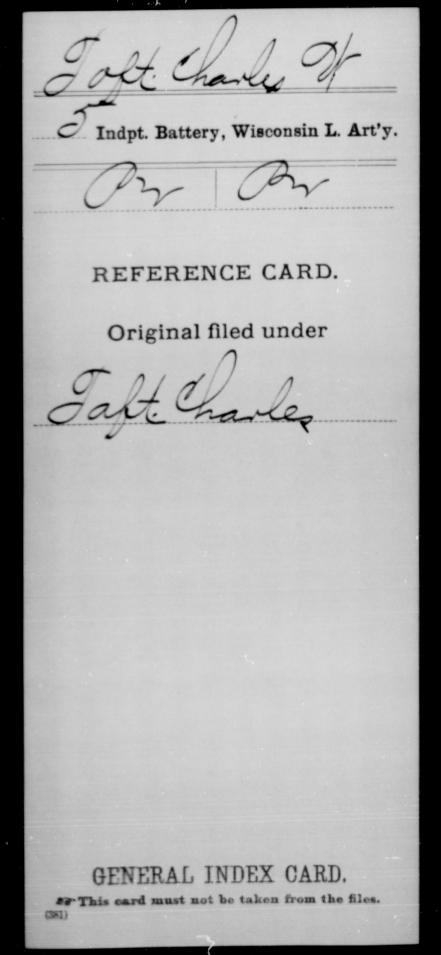 Wisconsin] Toft, Charles W - 5th Independent Battery, Light Artillery, Company [Blank