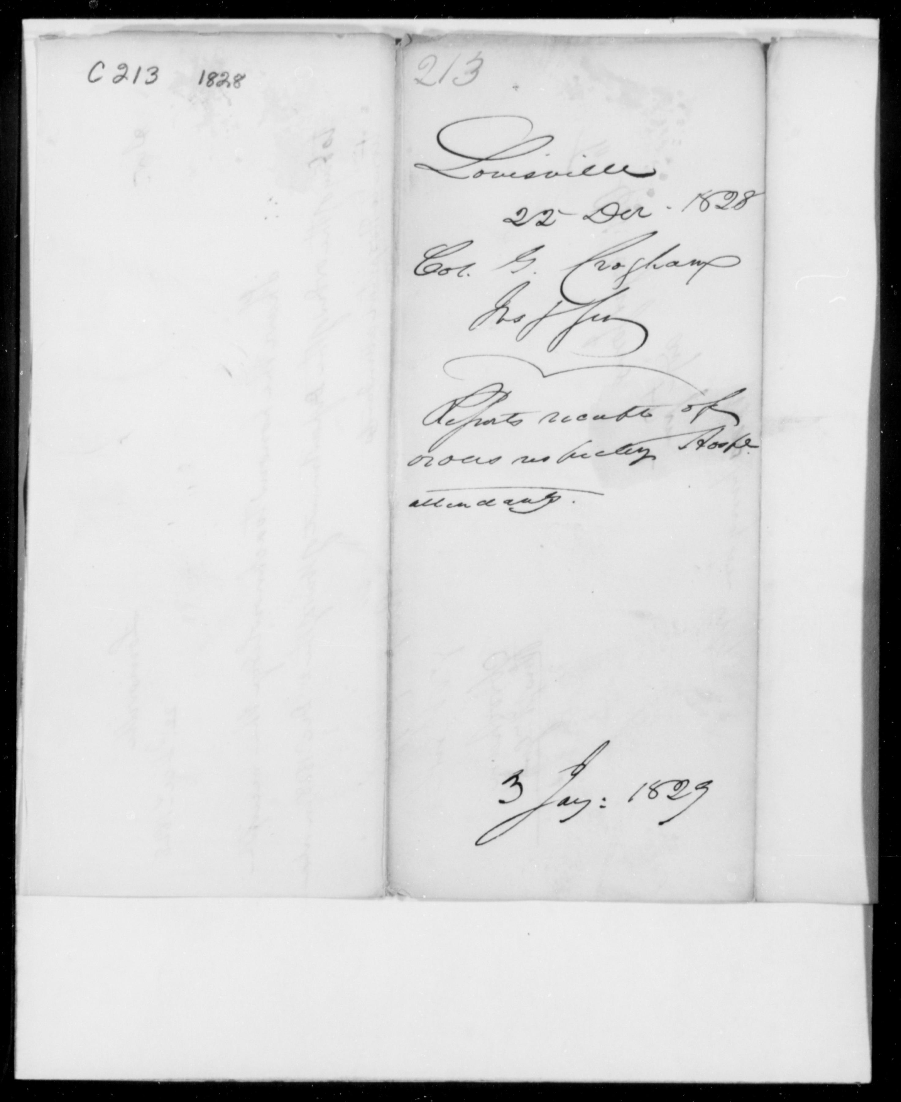 Croghan, G - Kentucky - 1828 - File No. C213