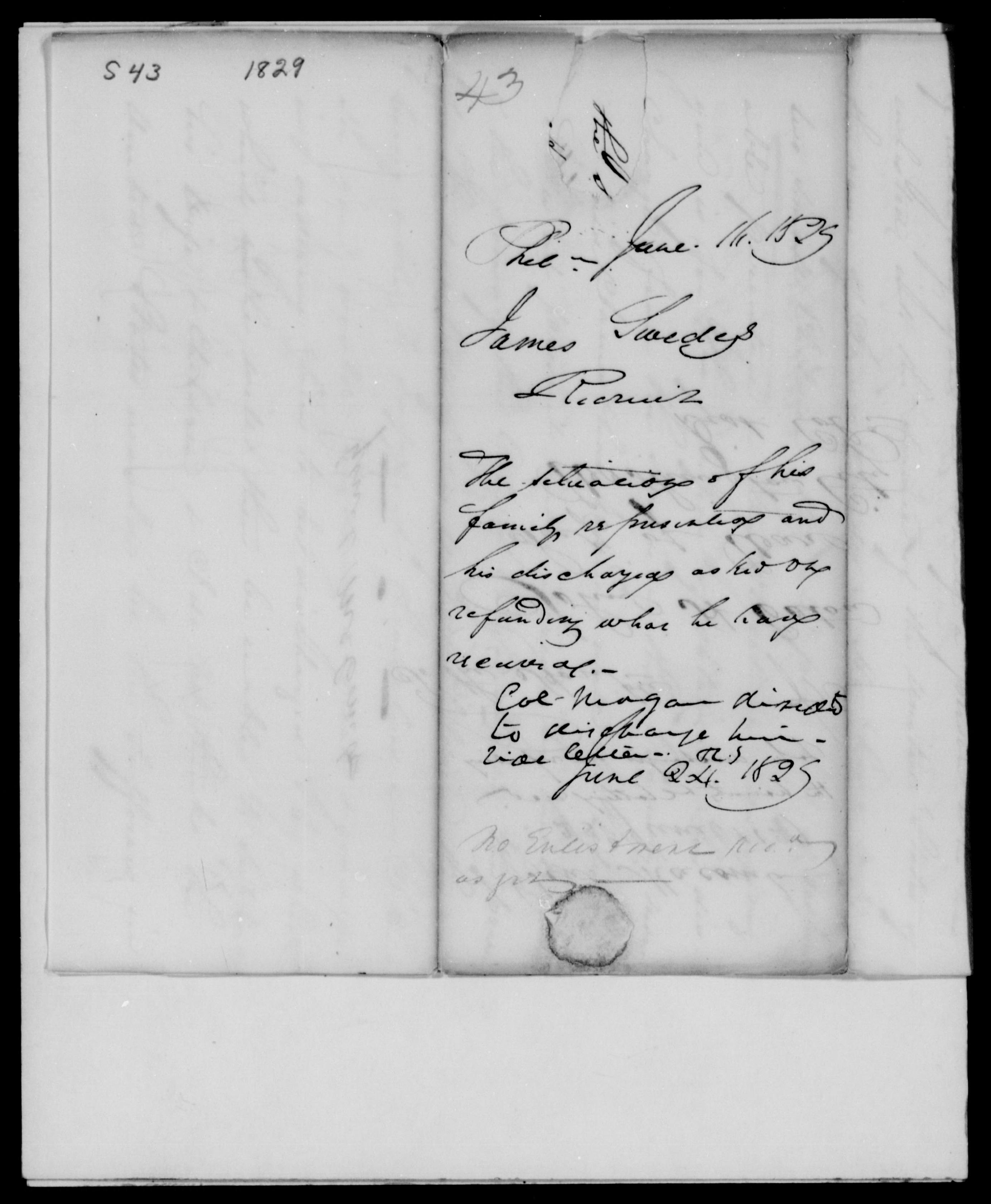 Swedes, James - Pennsylvania - 1829 - File No. S43