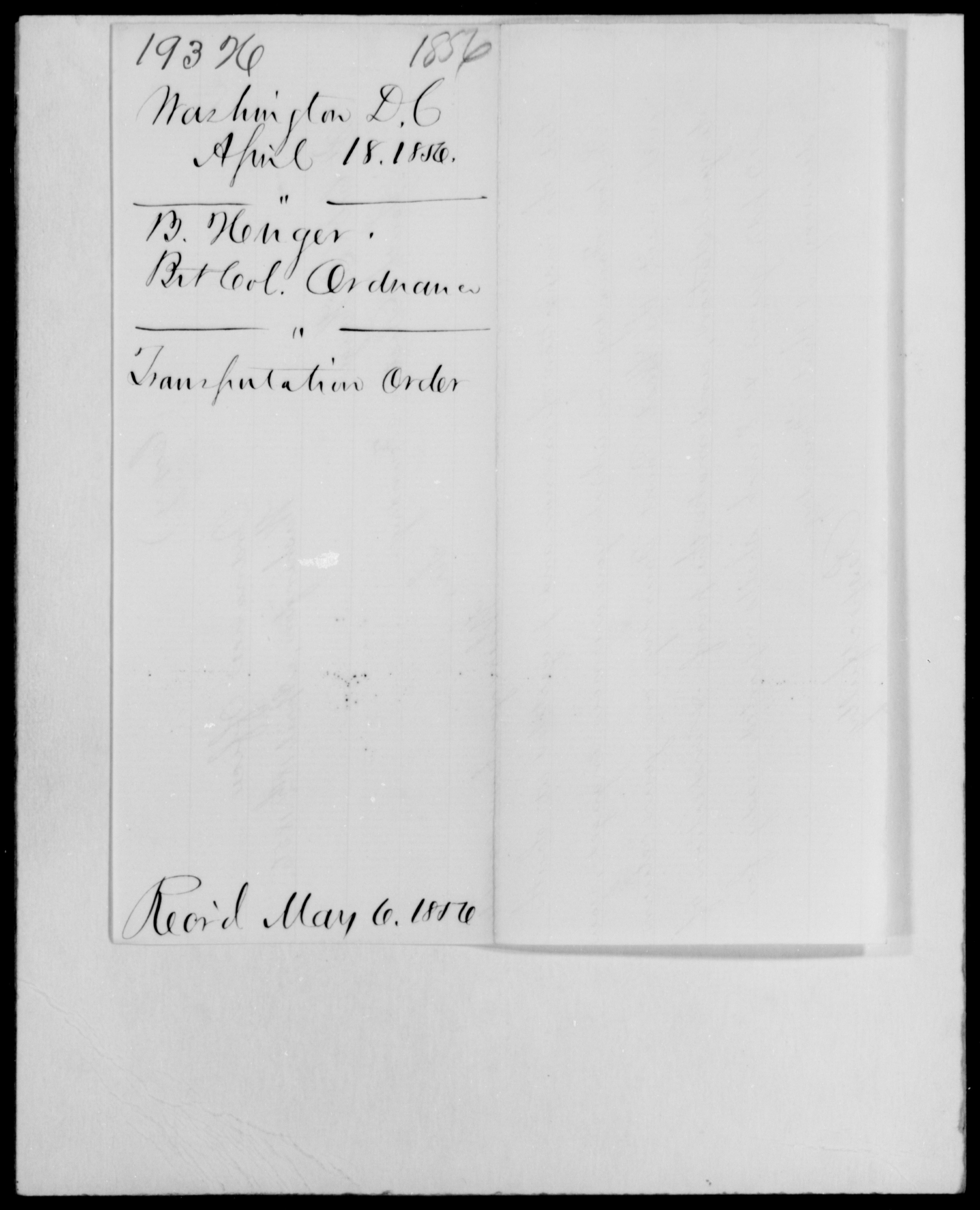 Henger, B - District of Columbia - 1856 - File No. H193