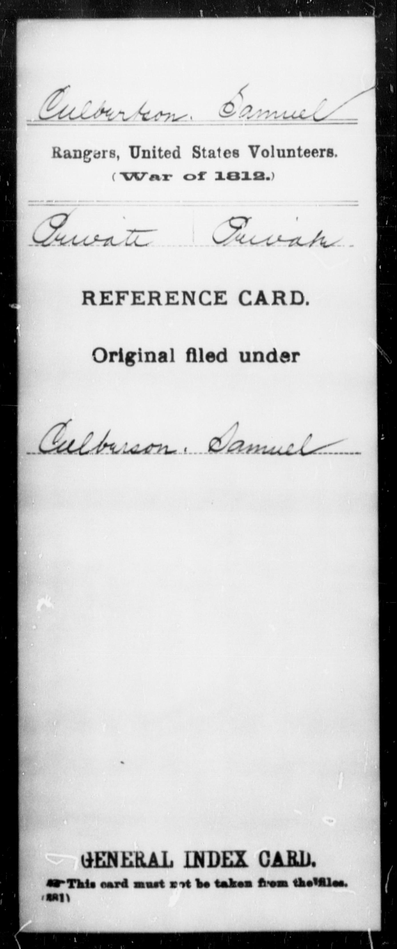 Culbertson, Samuel - State: United States - Regiment: Rangers, United States Volunteers