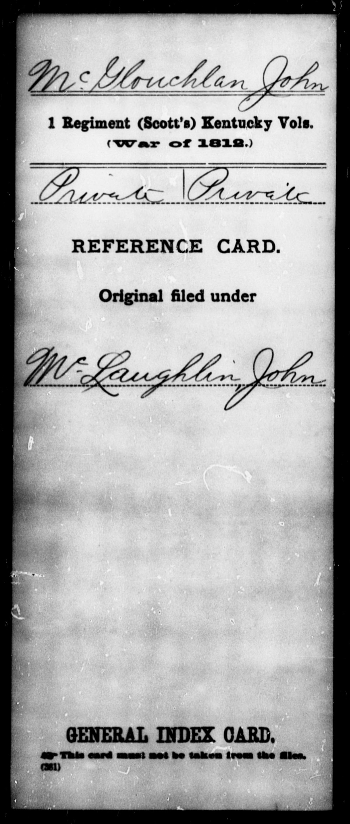 McGlouchlan, John - State: Kentucky - Regiment: 1 (Scott's) Kentucky Vols