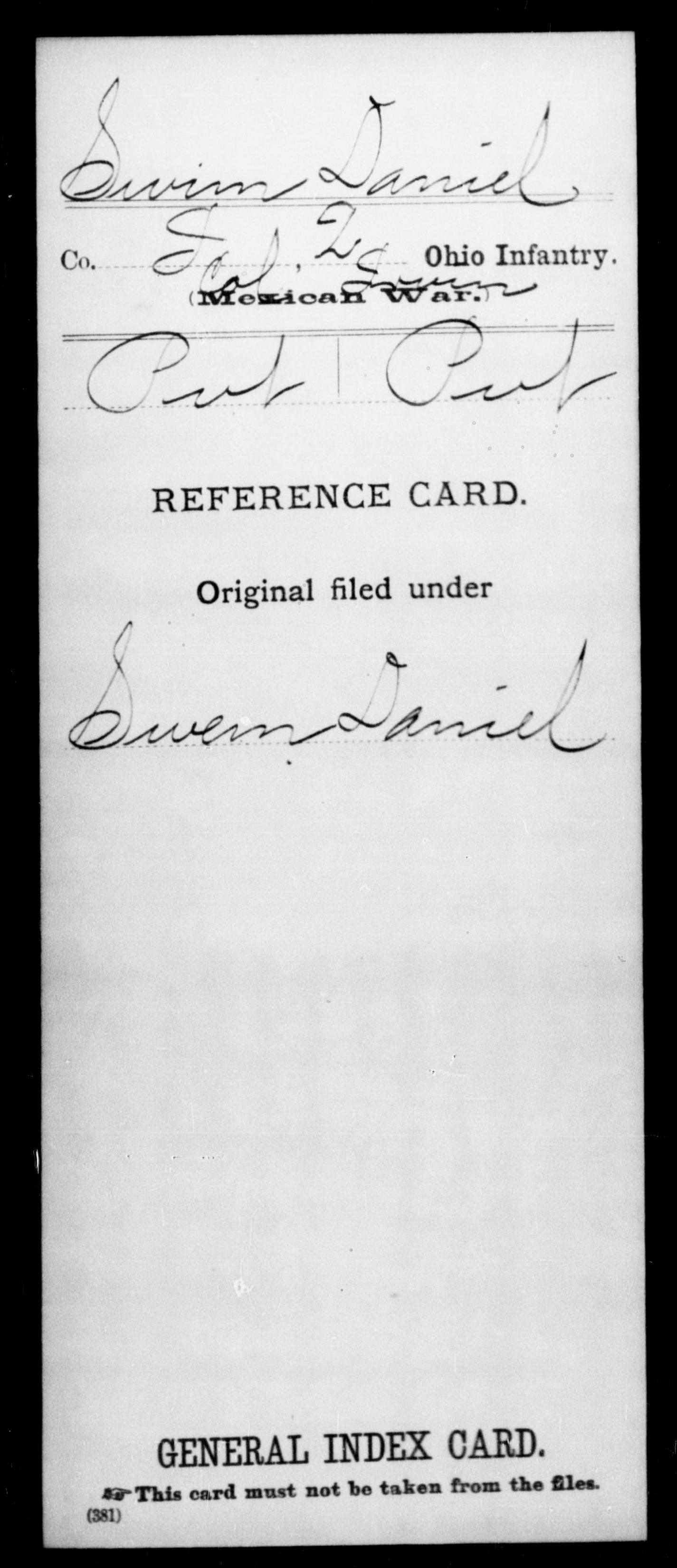 Swim, Danie; - State: Ohio - Regiment: 2 Ohio Infantry, Company I - Enlistment Rank: Pvt - Discharge Rank: Pvt