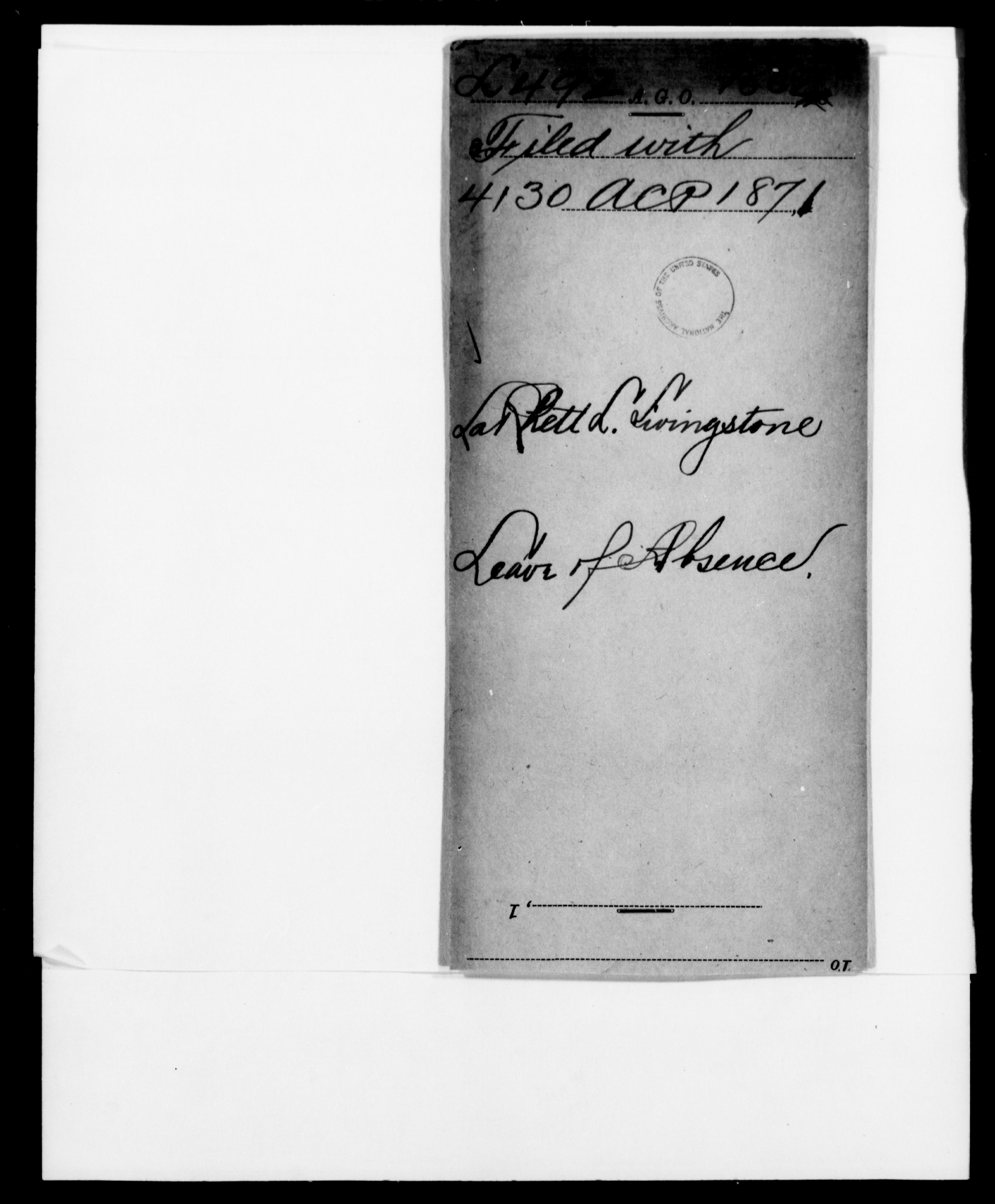 1862 - Livingstone, Rett L - File No. L492