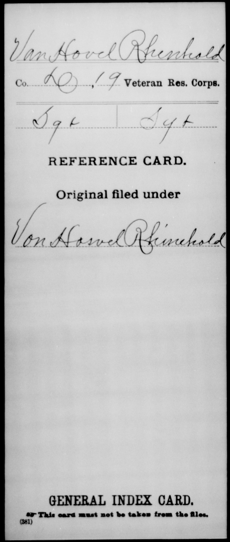 Van Hovel, Rhenhold - 19th Veteran Reserve Corps, Company D