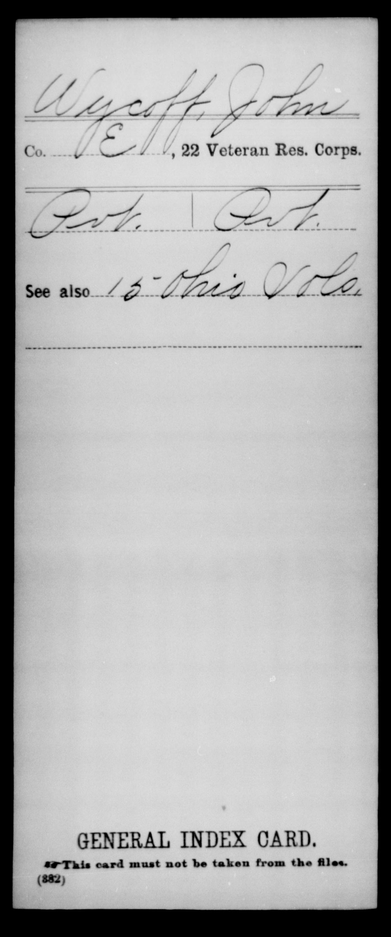 Wycoff, John - 22nd Veteran Reserve Corps, Company E