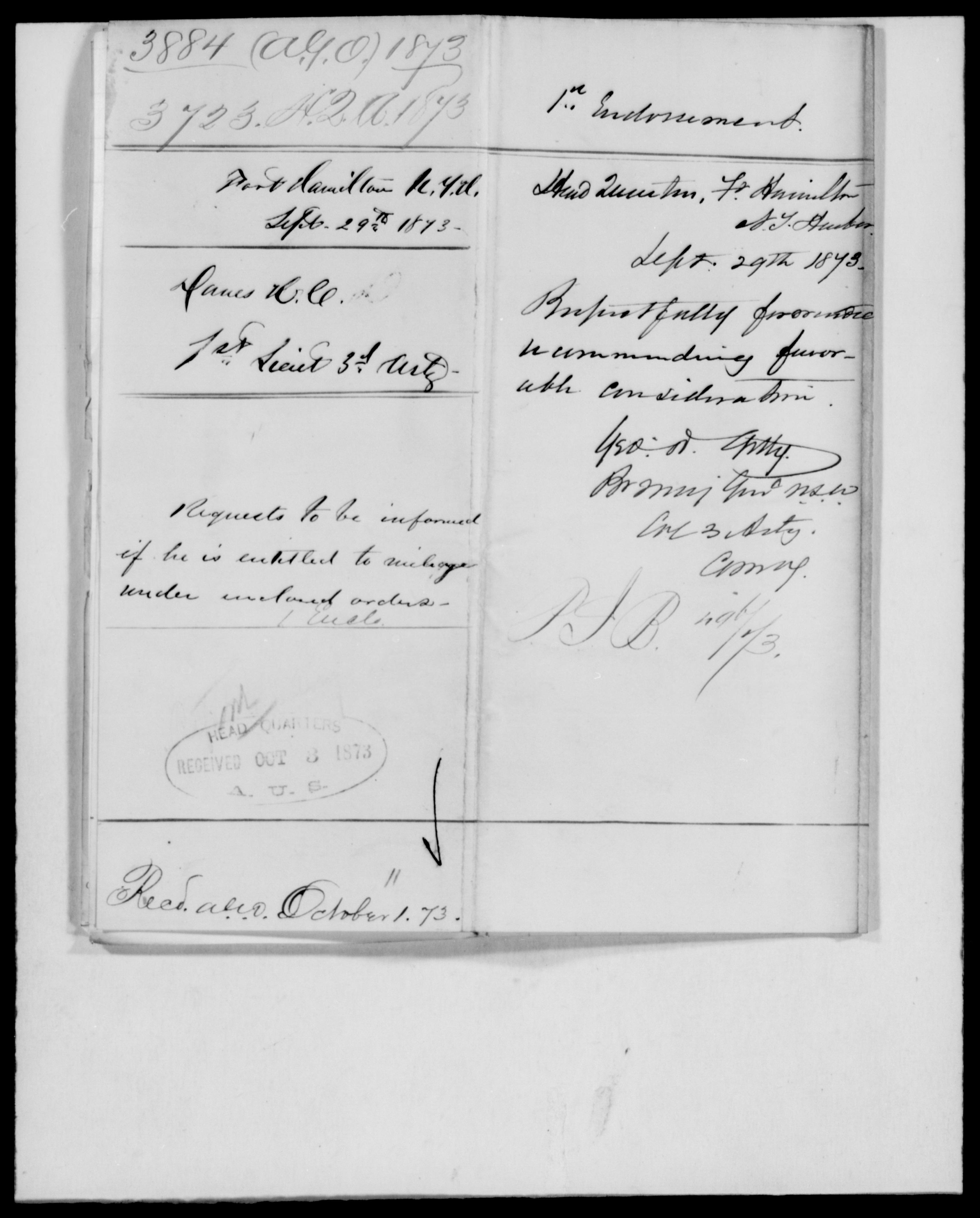 1873 - File No. 3884 (Danes, H C - New York)