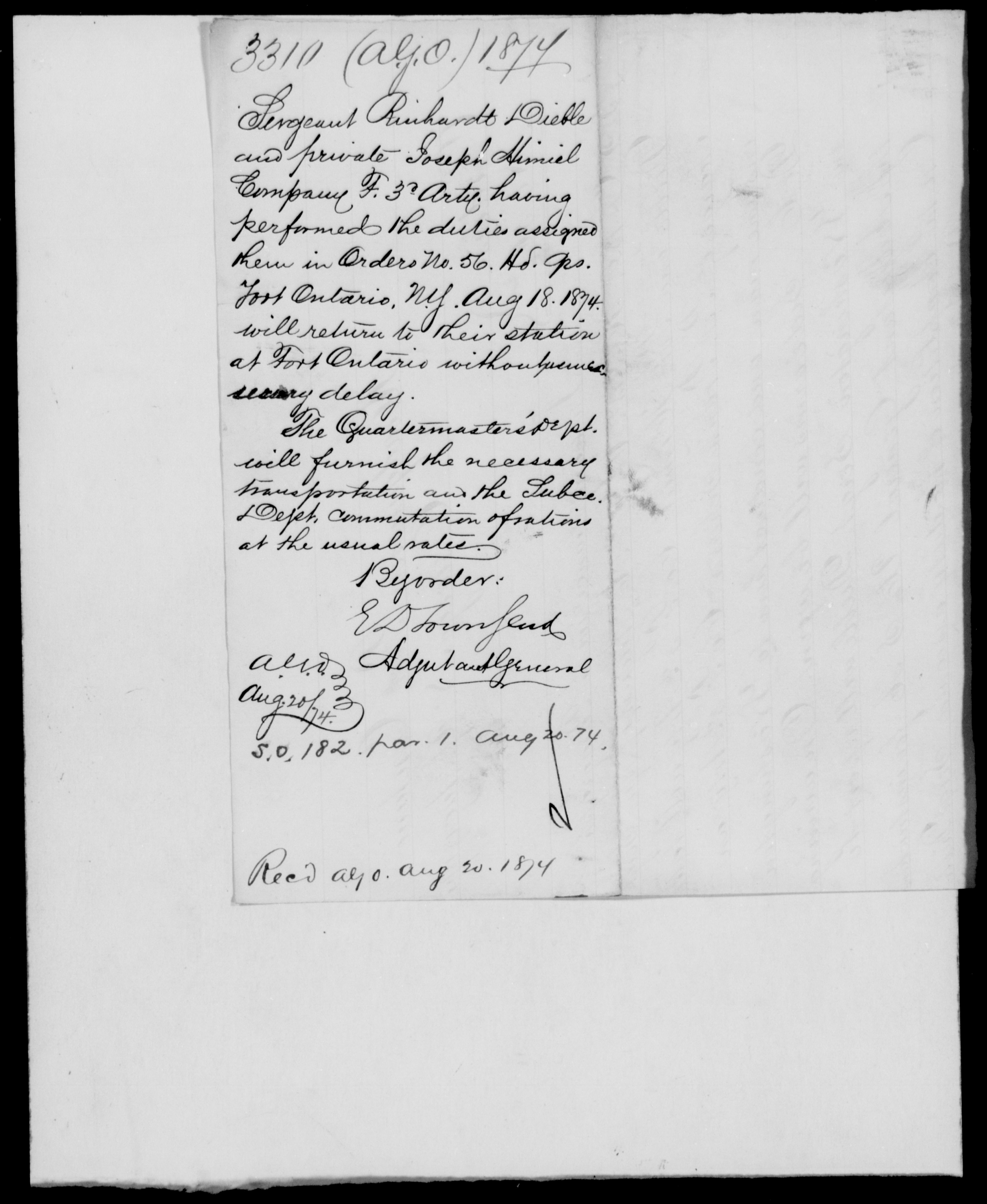 1874 - File No. 3310 (Danes, H C - New York)