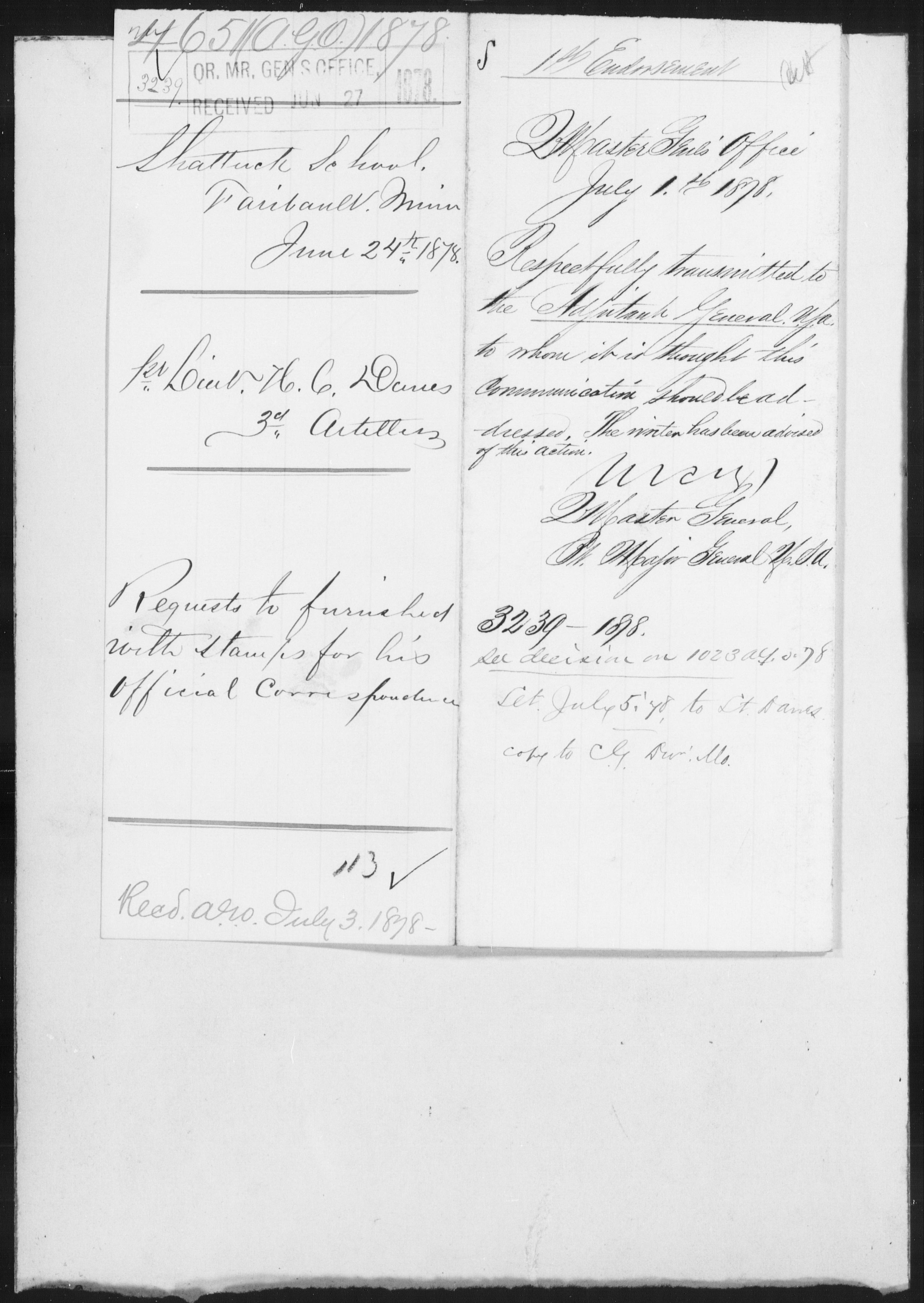 1878 - File No. 4651 (Danes, H C - Minnesota)