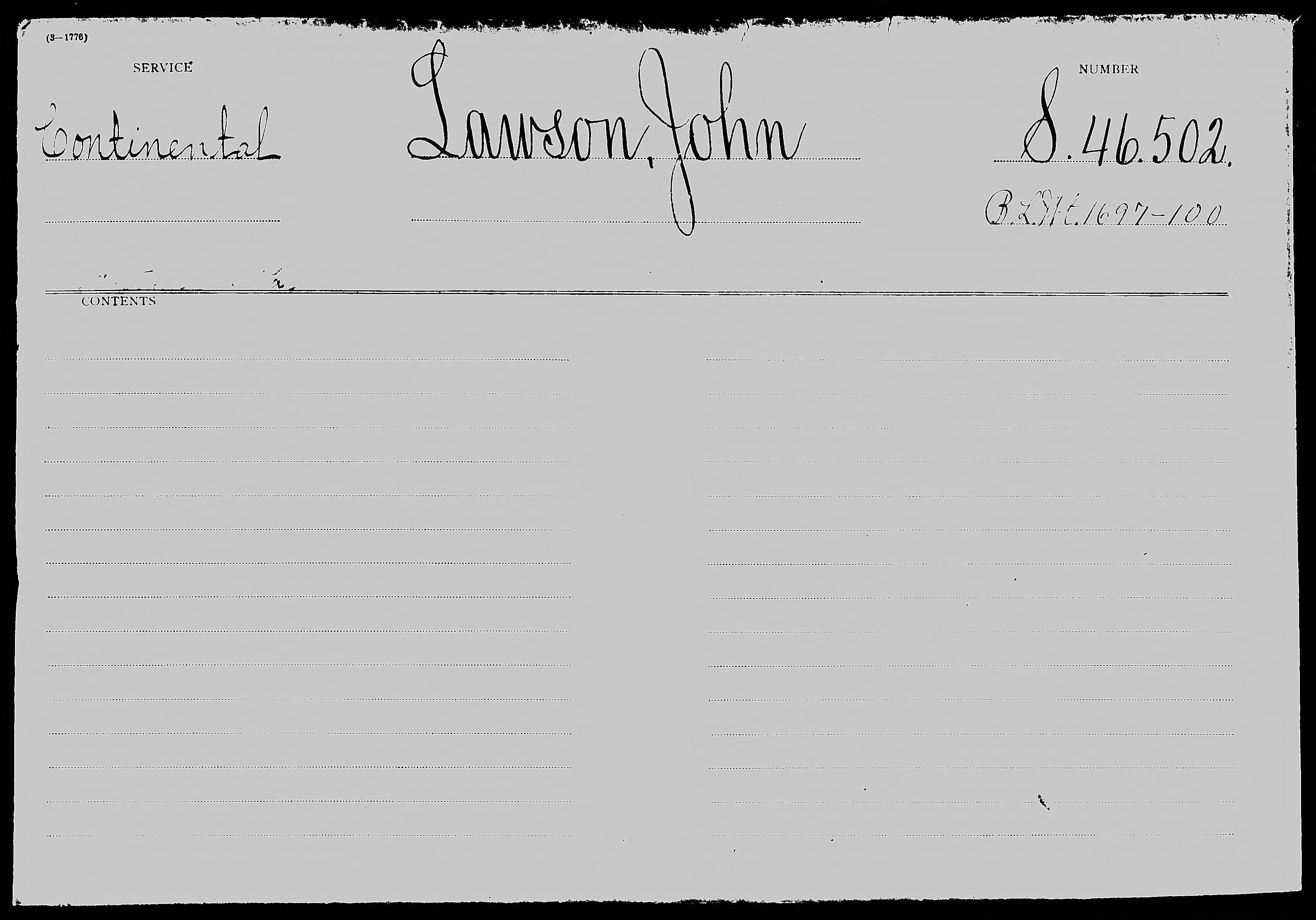 Revolutionary War Pension and Bounty Land Warrant Application File S. 46,502, for John Lawson
