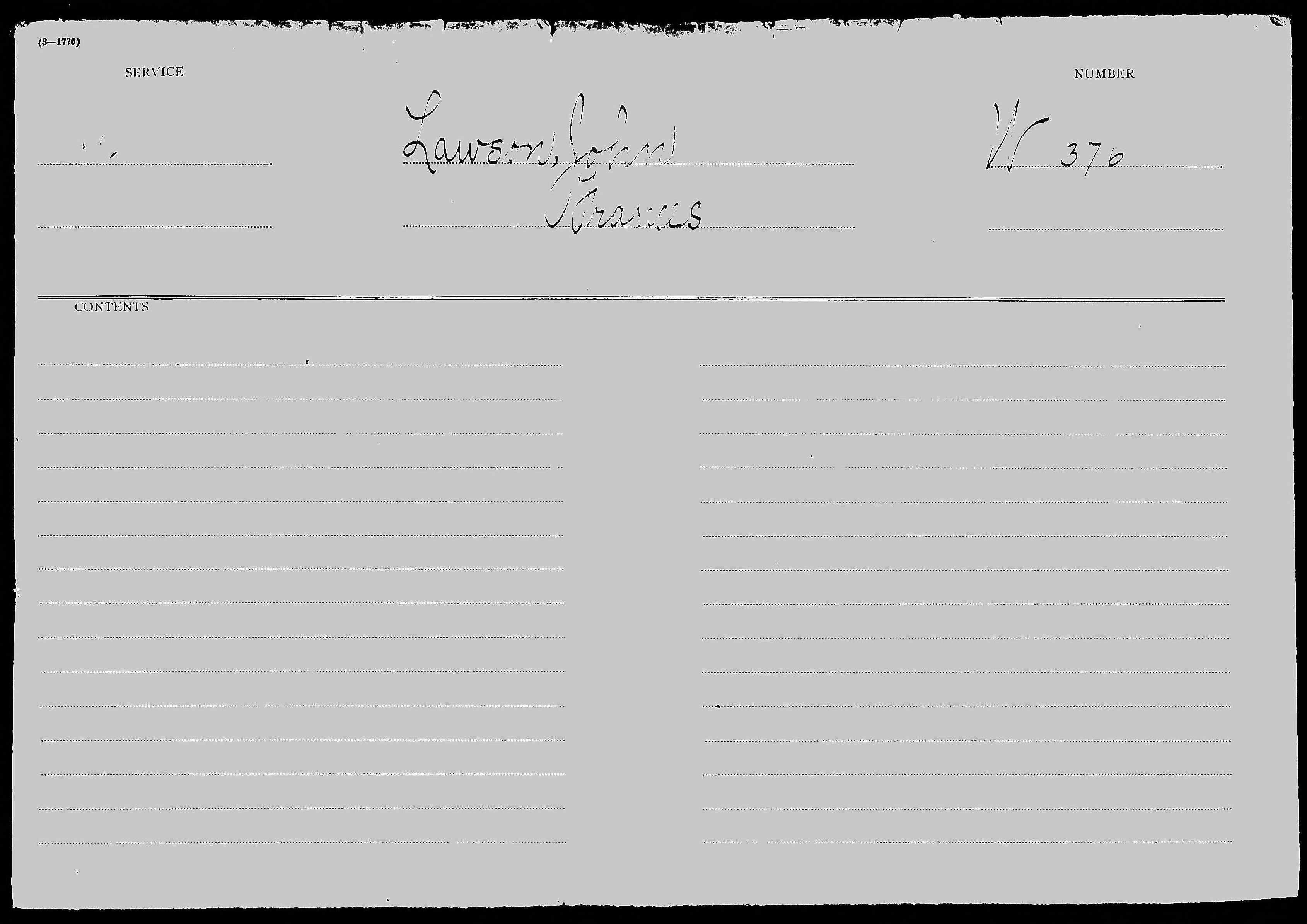 Revolutionary War Pension and Bounty Land Warrant Application File W. 370, for John Lawson