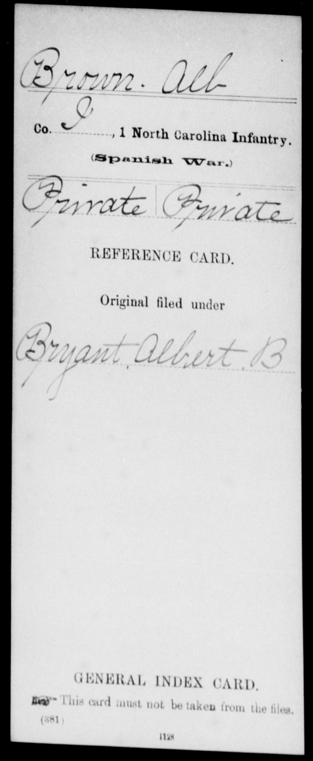 Brown, Alb - State: North Carolina - Regiment: 1 North Carolina Infantry, Company I