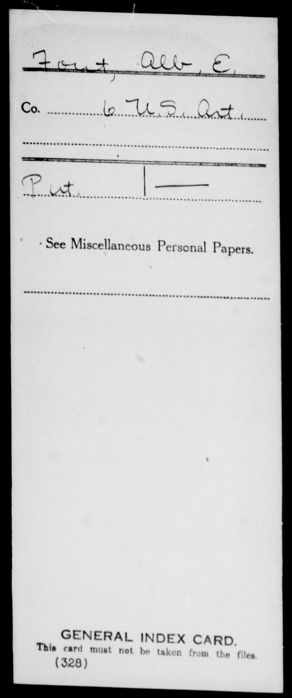 Fout, Alb E - State: United States - Regiment: 6 United States Artillery, Company [Blank]