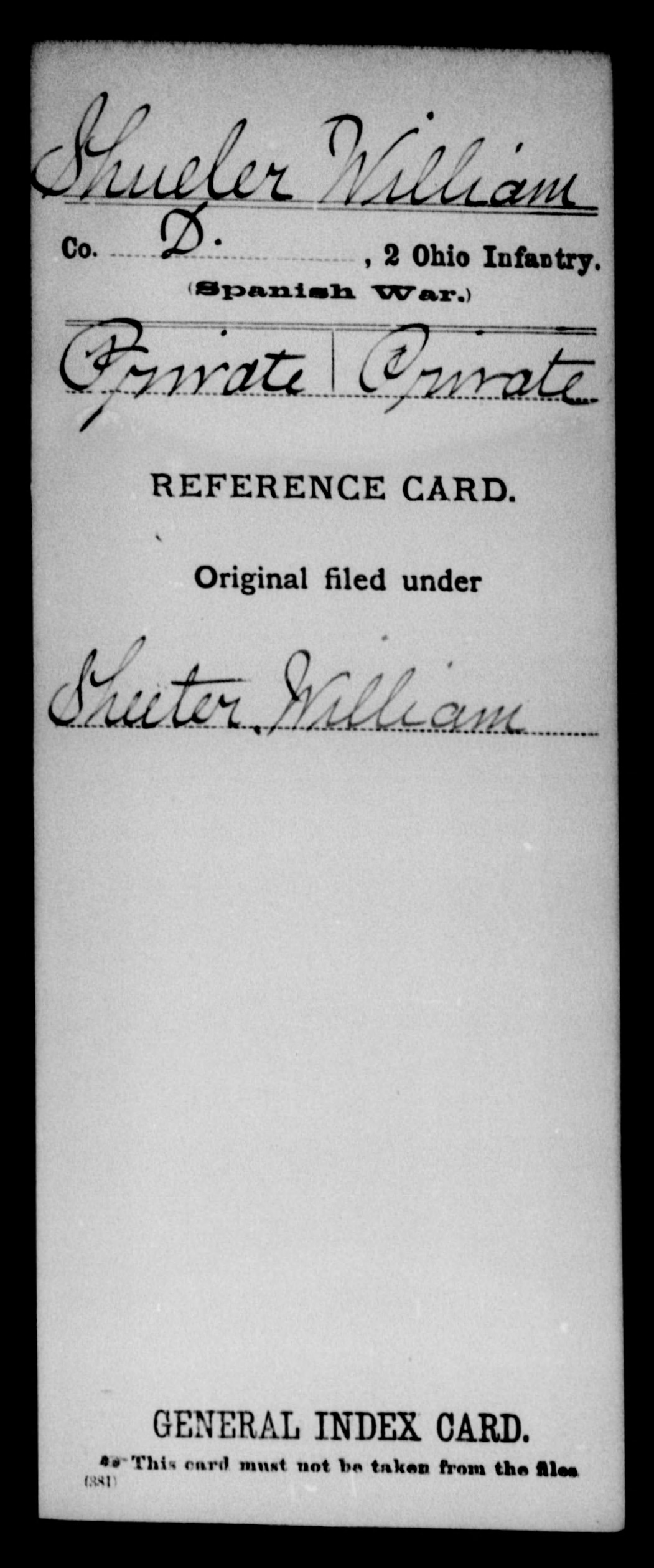 Shueler, William - State: Ohio - Regiment: 2 Ohio Infantry, Company D
