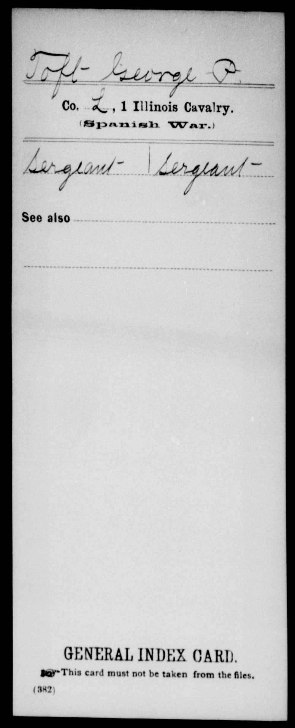 Toft, George P - State: Illinois - Regiment: 1 Illinois Cavalry, Company L