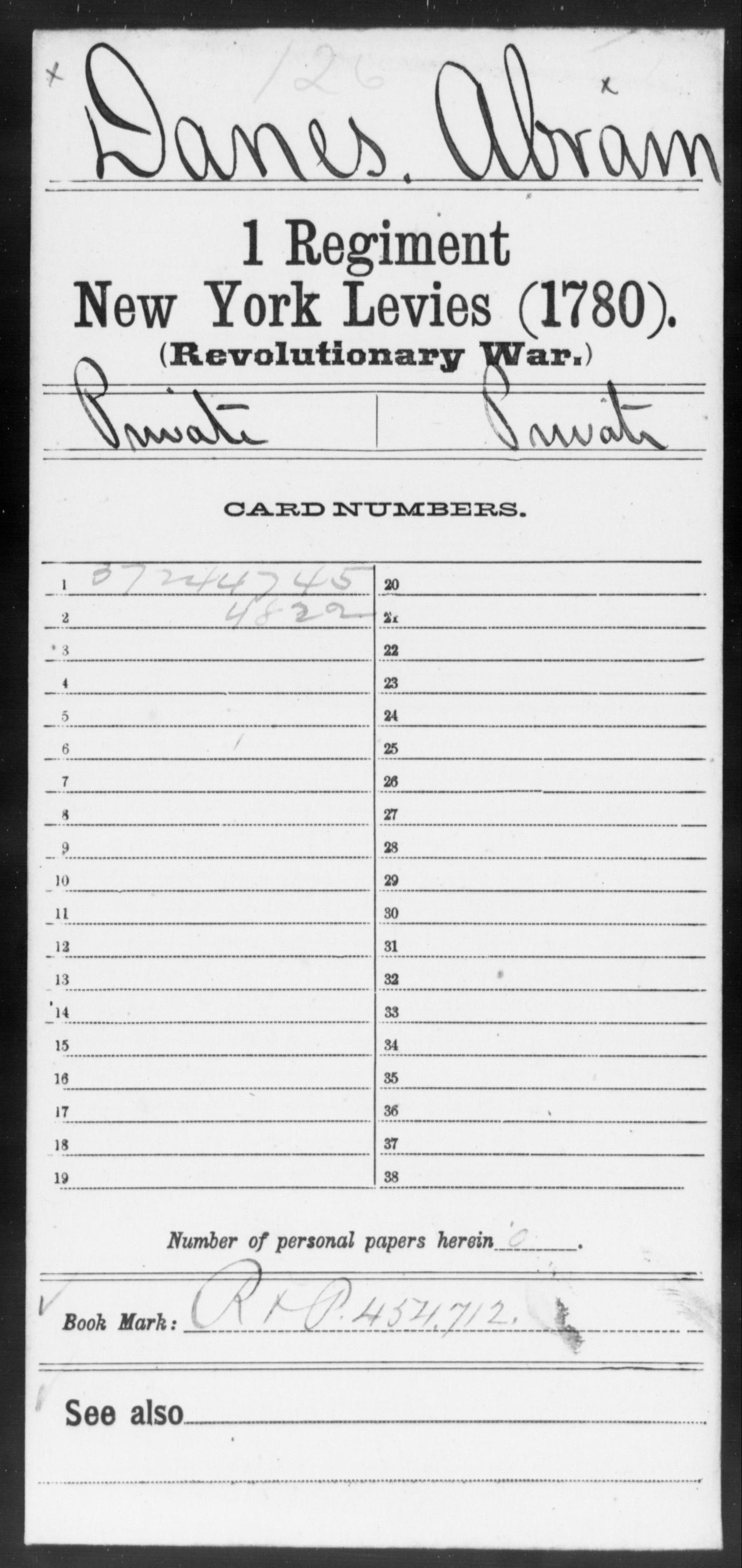 Danes, Abram - New York - First Regiment, New York Levies (1780)