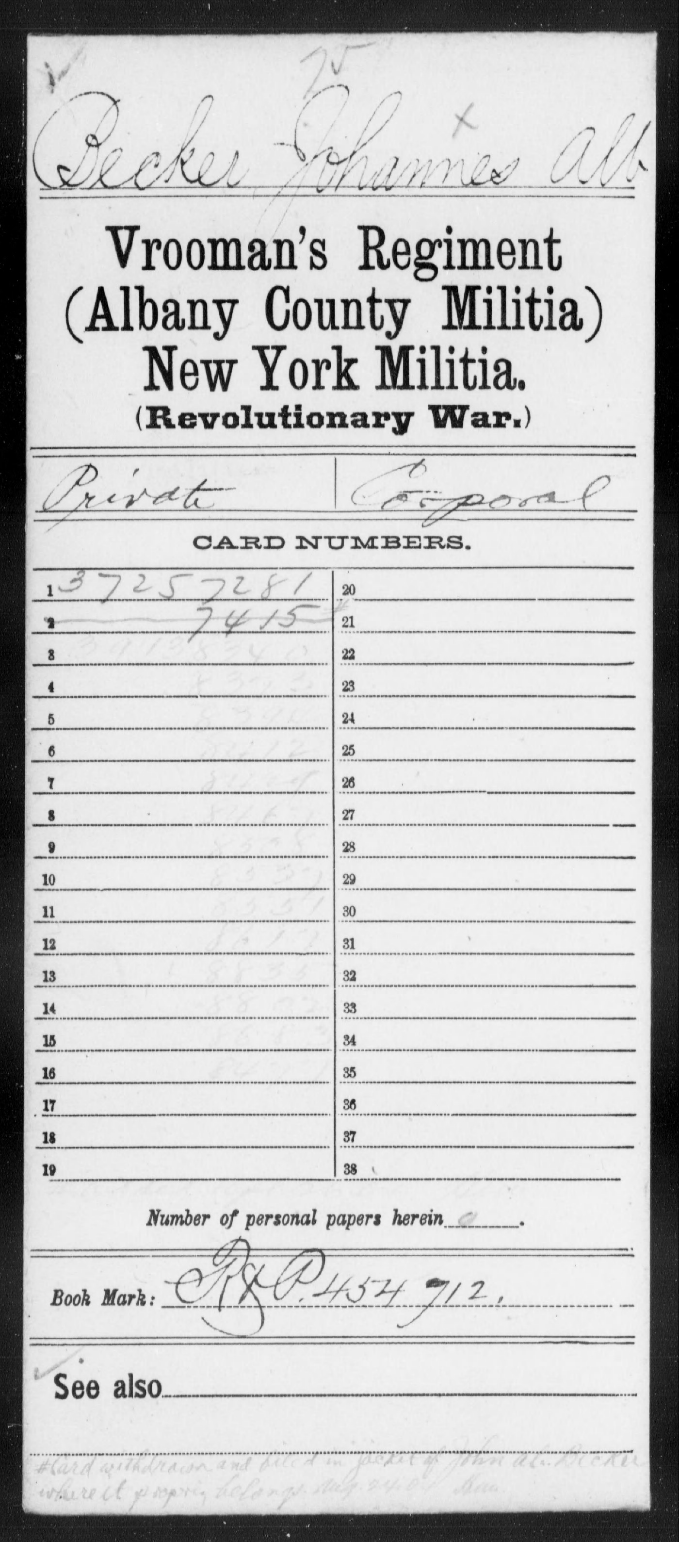 Becker, Johannes Alb - New York - Vrooman's Regiment (Albany County), Militia