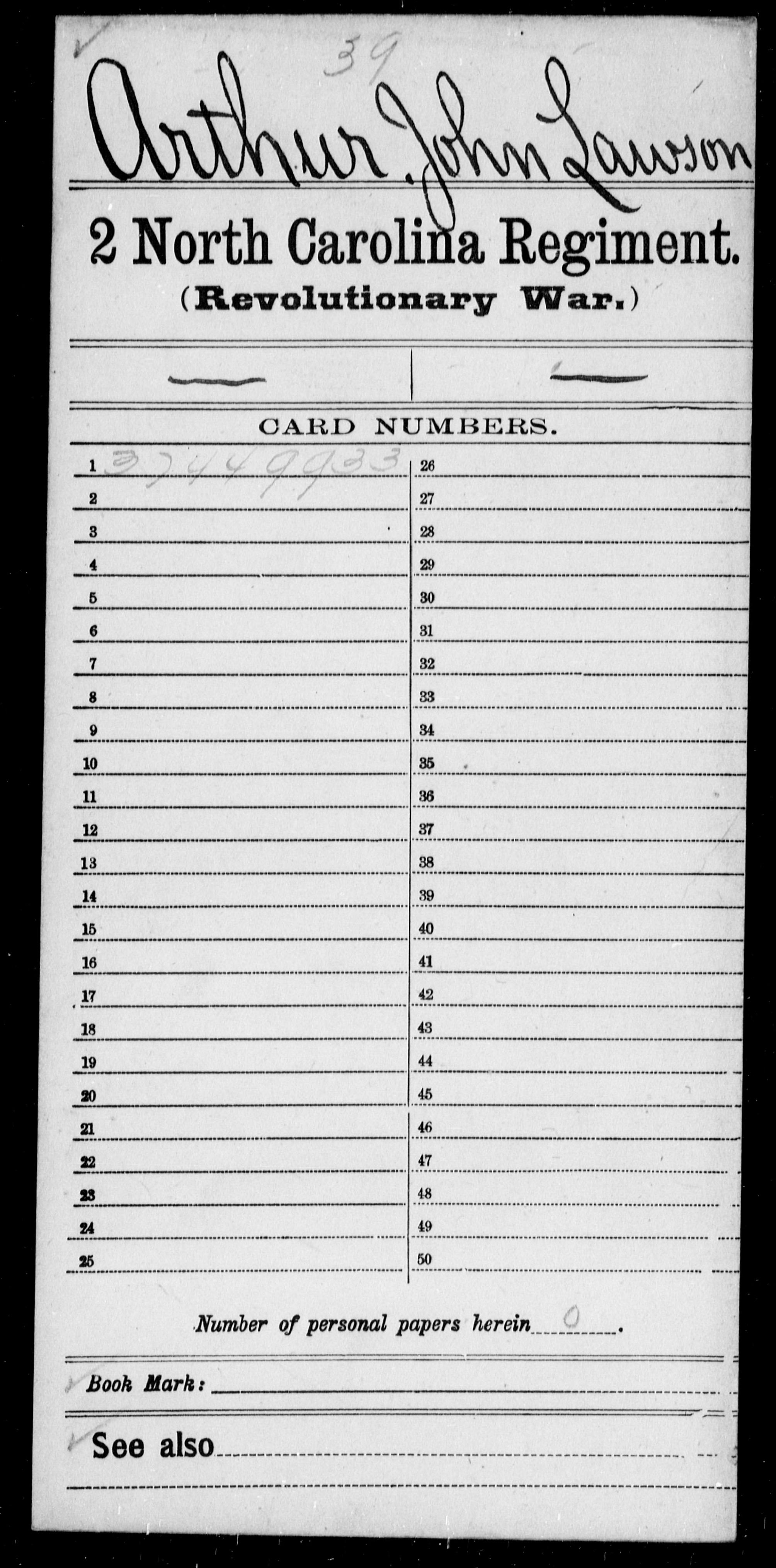 Arthur, John Lawson - North Carolina - Second Regiment