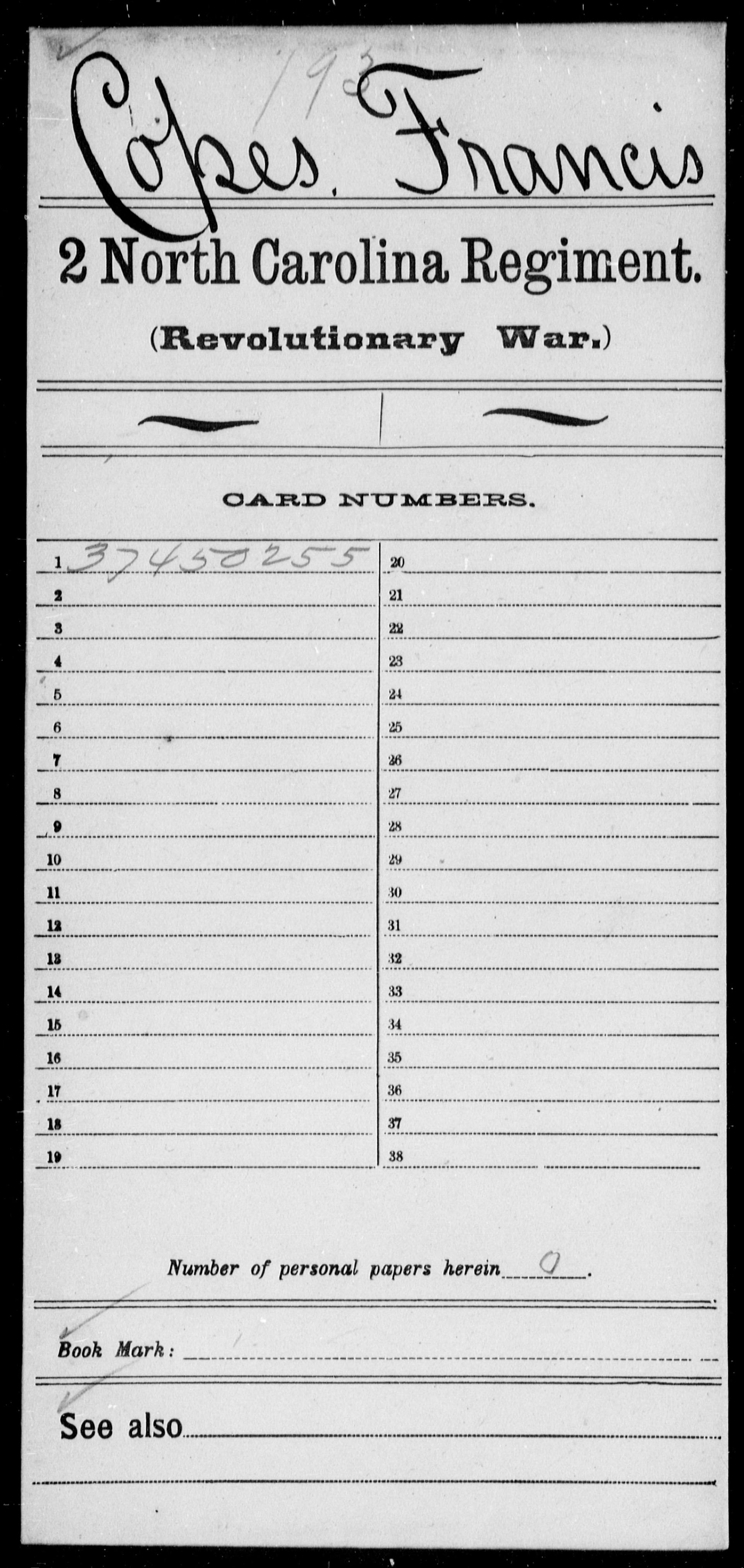 Copes, Francis - North Carolina - Second Regiment