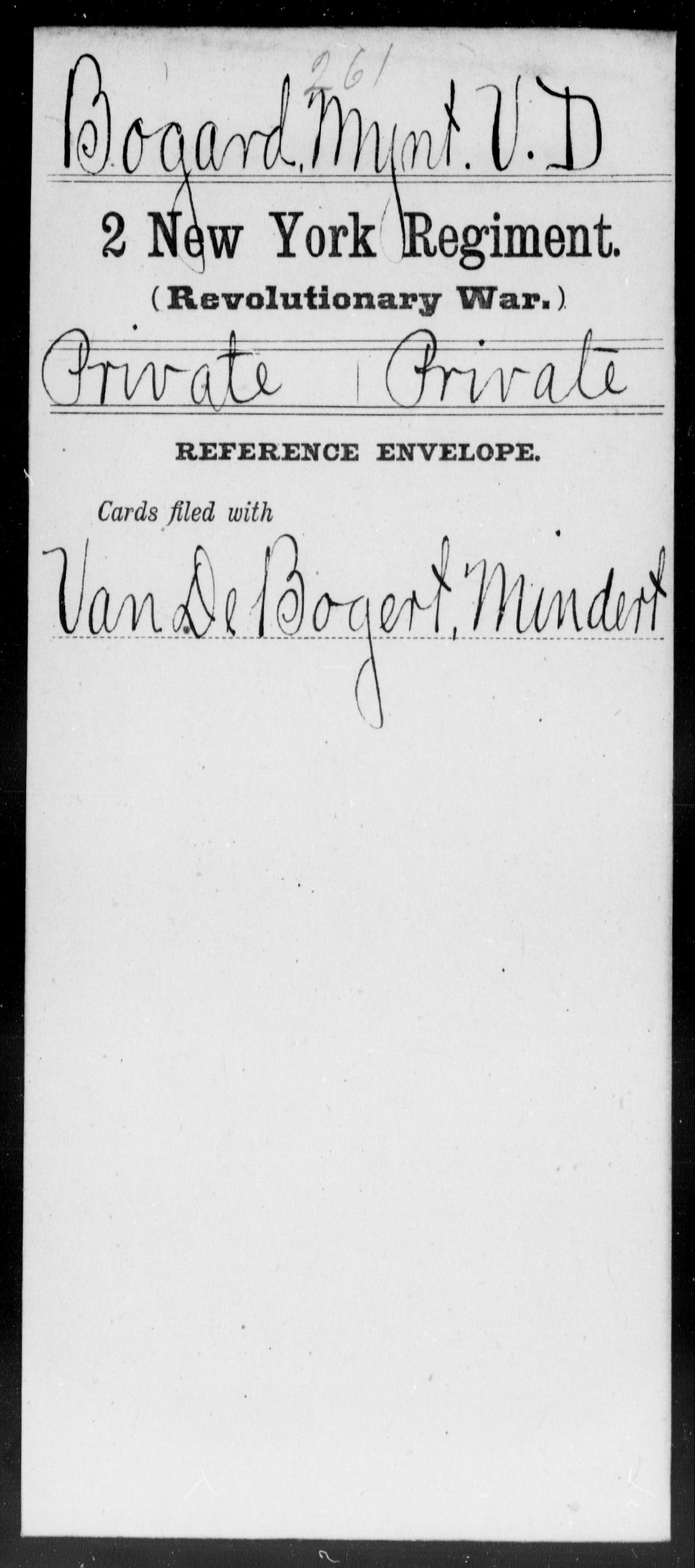 Bogard, Mynt V D - New York - Second Regiment