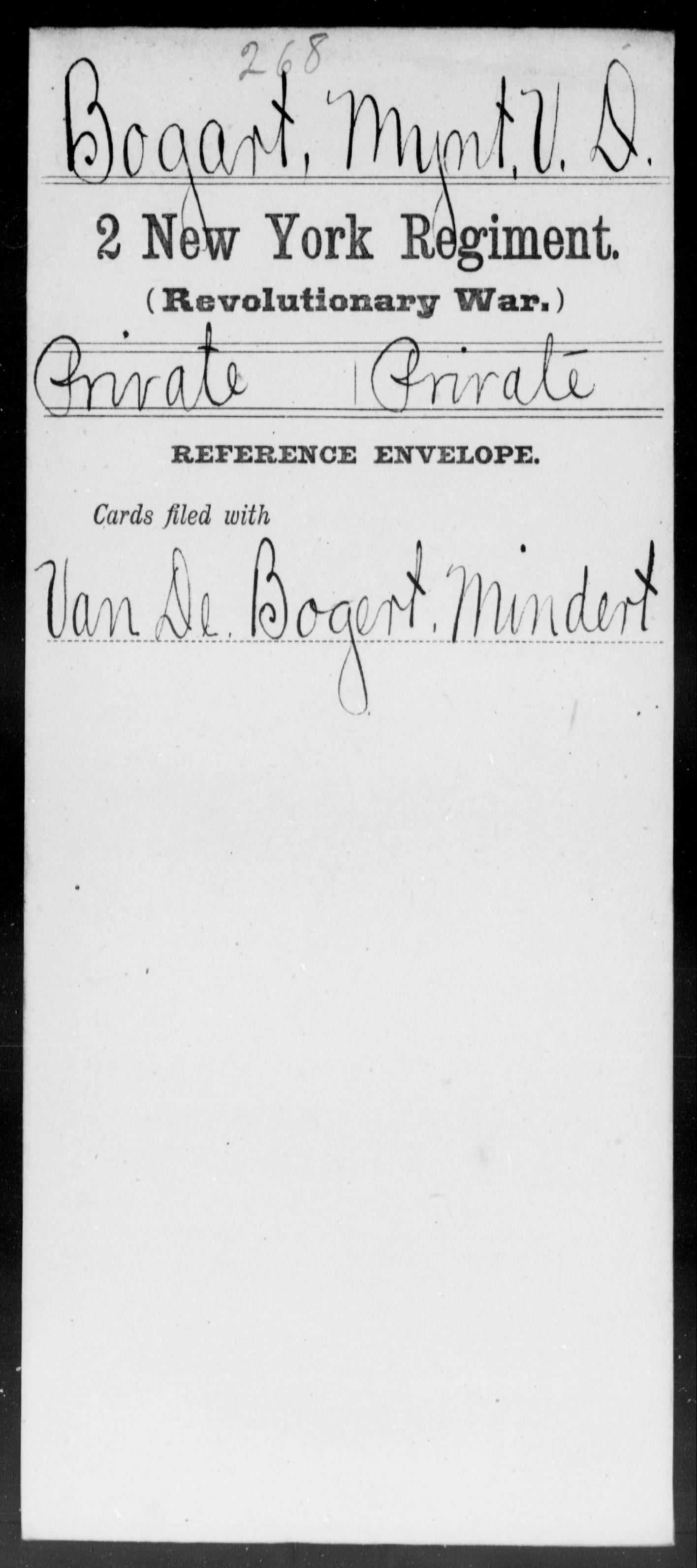 Bogart, Mynt V D - New York - Second Regiment