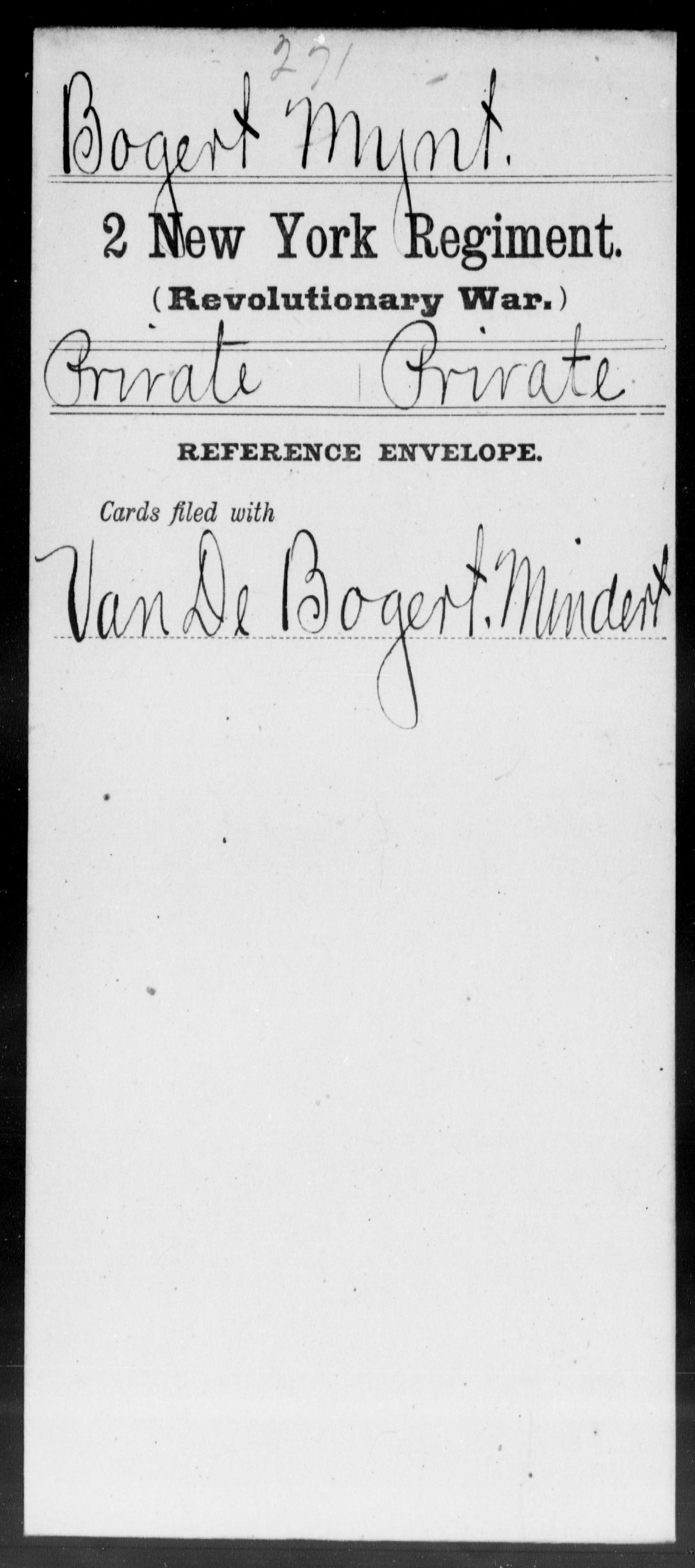 Bogert, Mynt - New York - Second Regiment