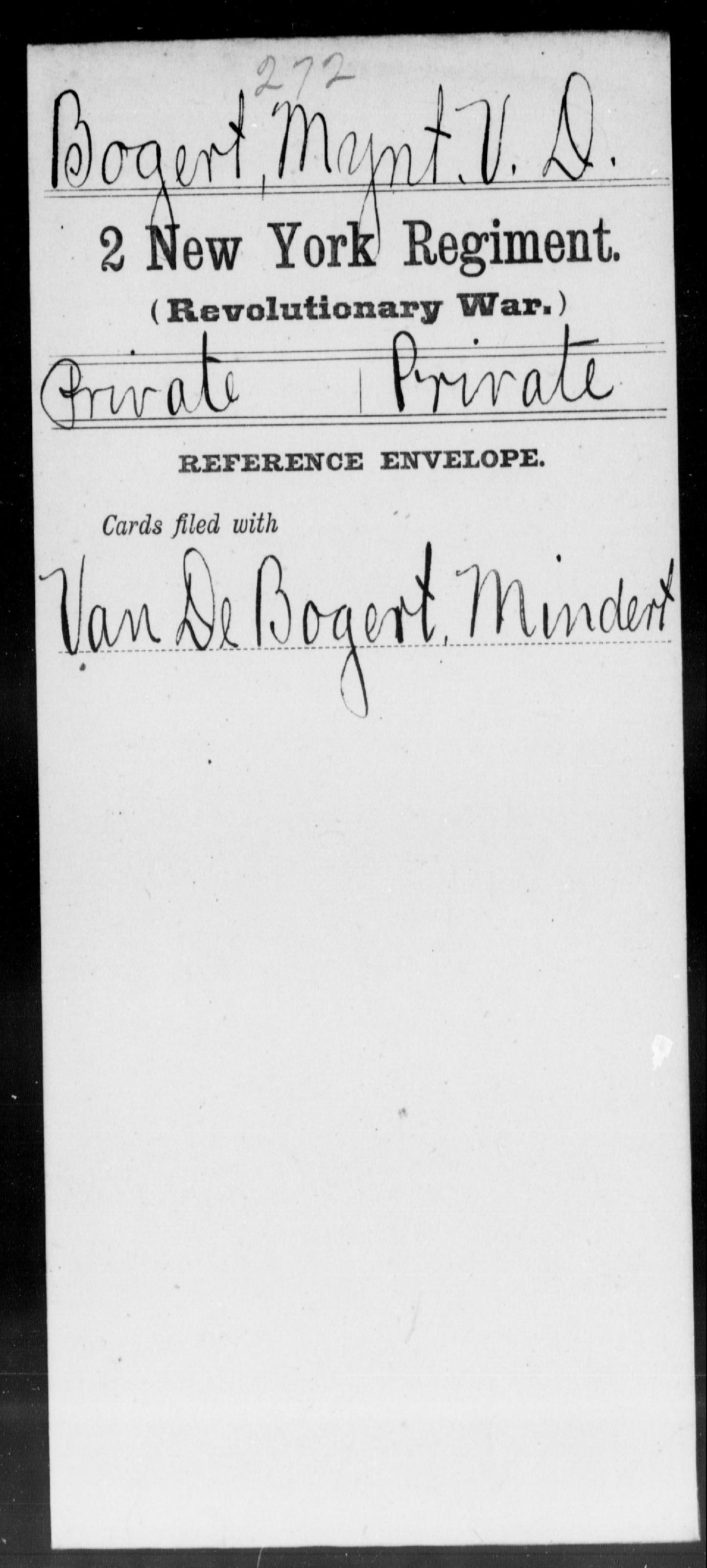 Bogert, Mynt V D - New York - Second Regiment