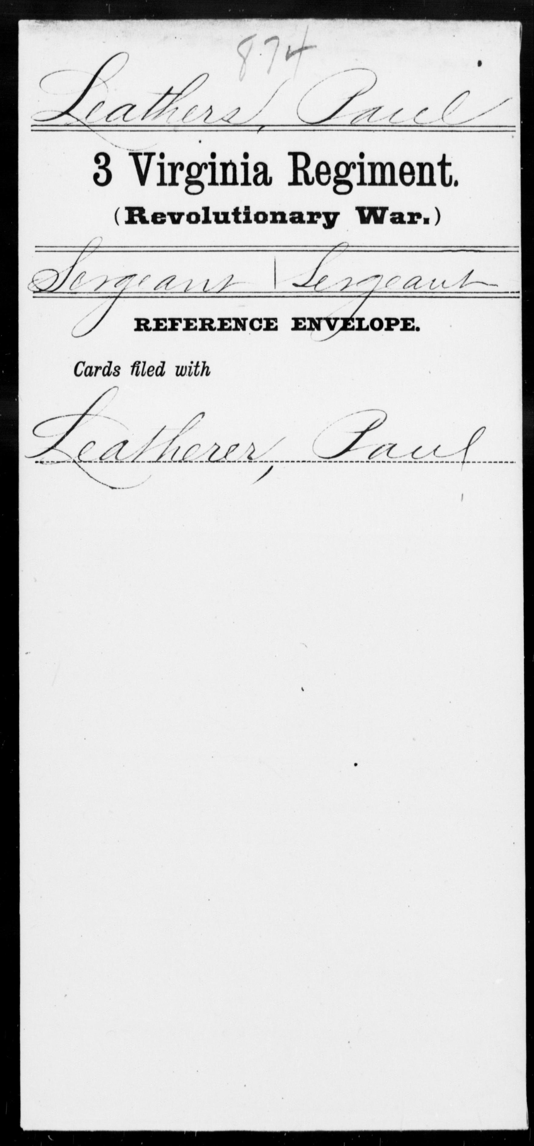 Leathers, Paul - Virginia - Third Regiment