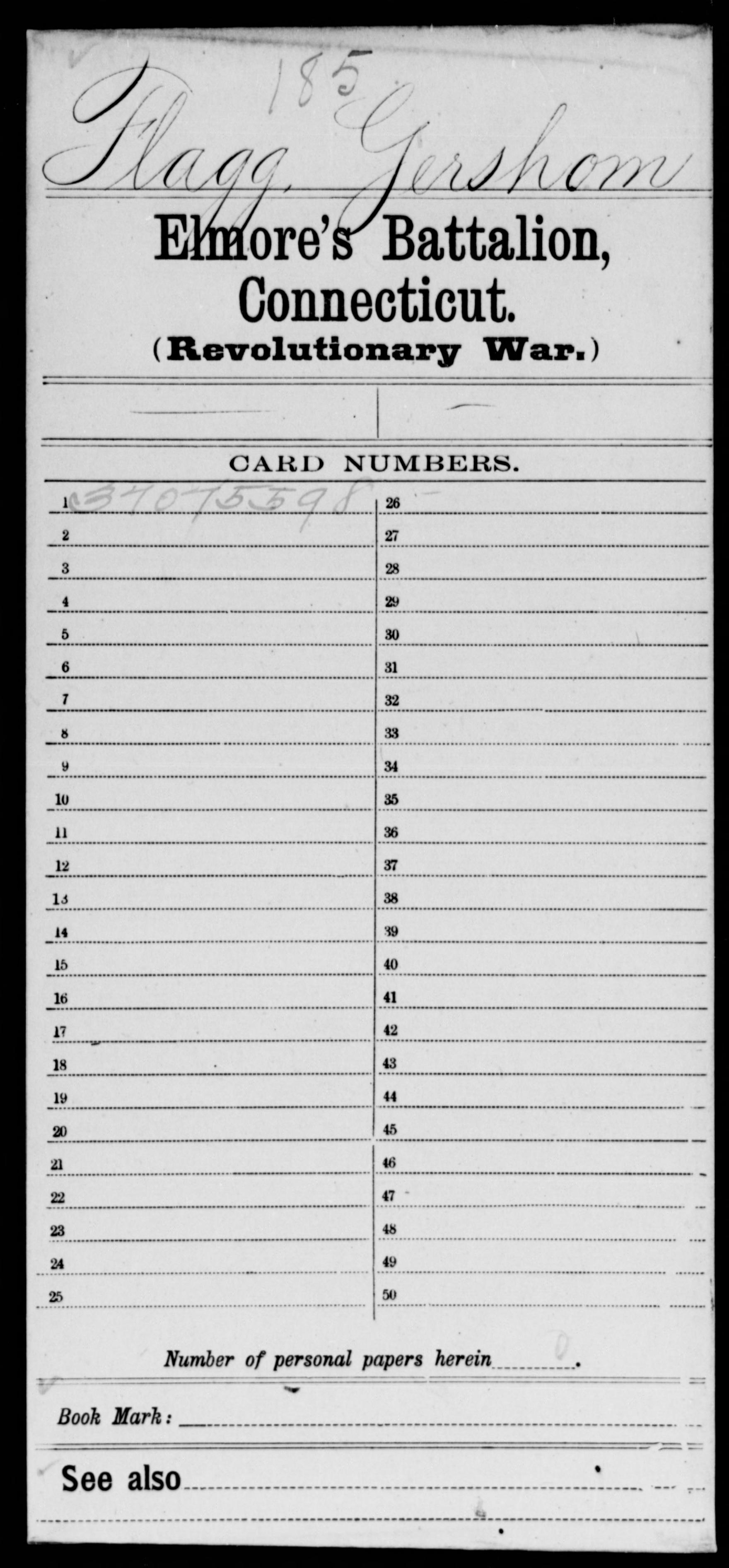 Flagg, Gershom - Connecticut - Elmore's Battalion