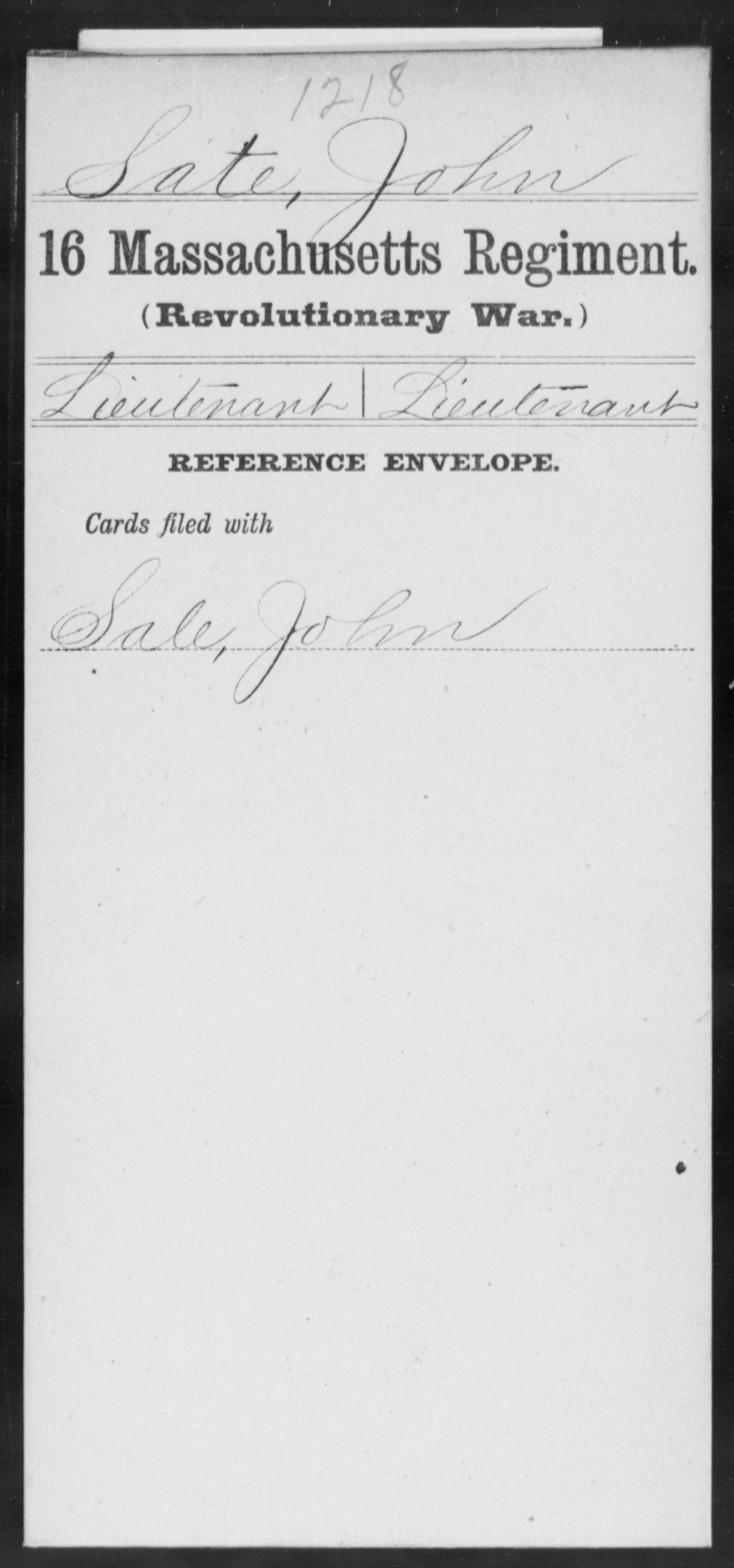 Sate, John - Massachusetts - Sixteenth Regiment