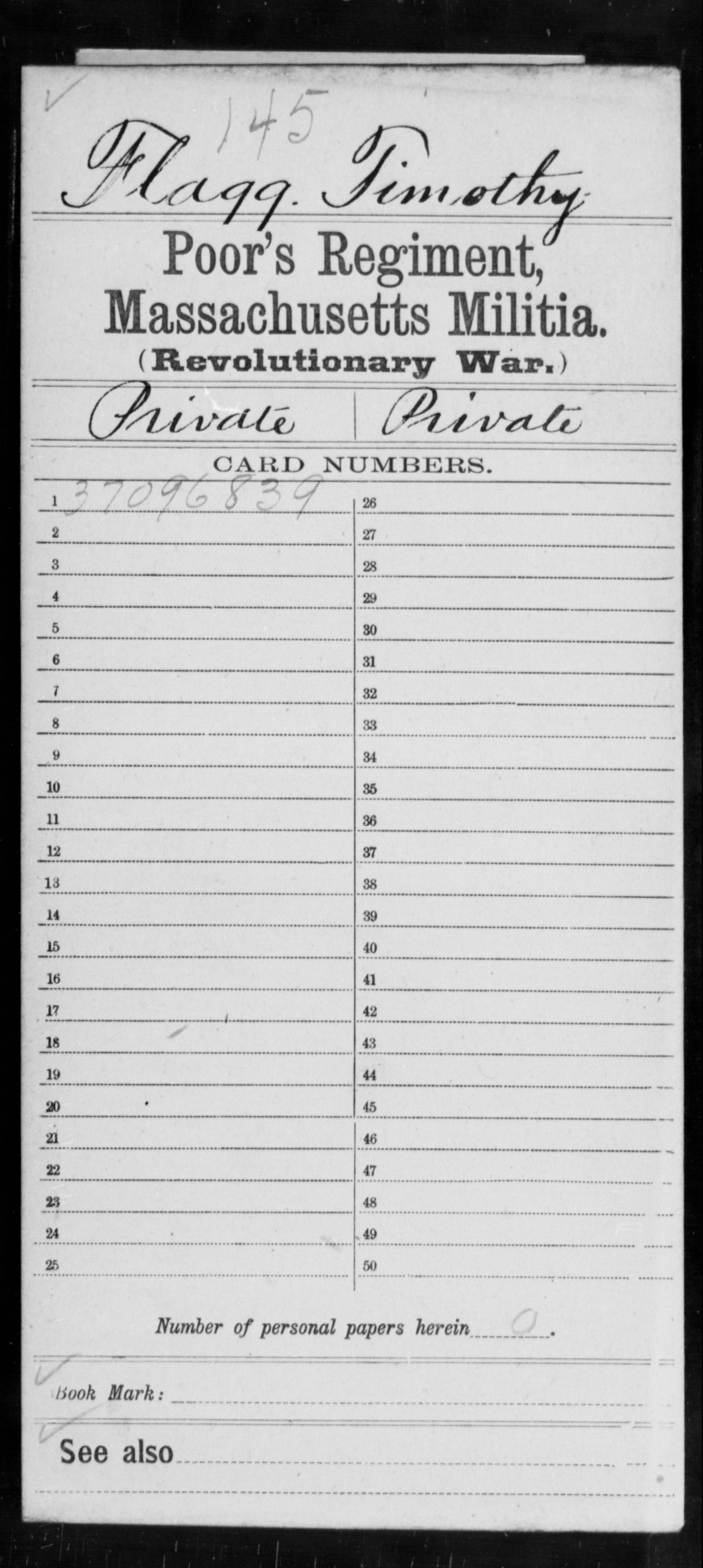 Flagg, Timothy - Massachusetts - Poor's Regiment